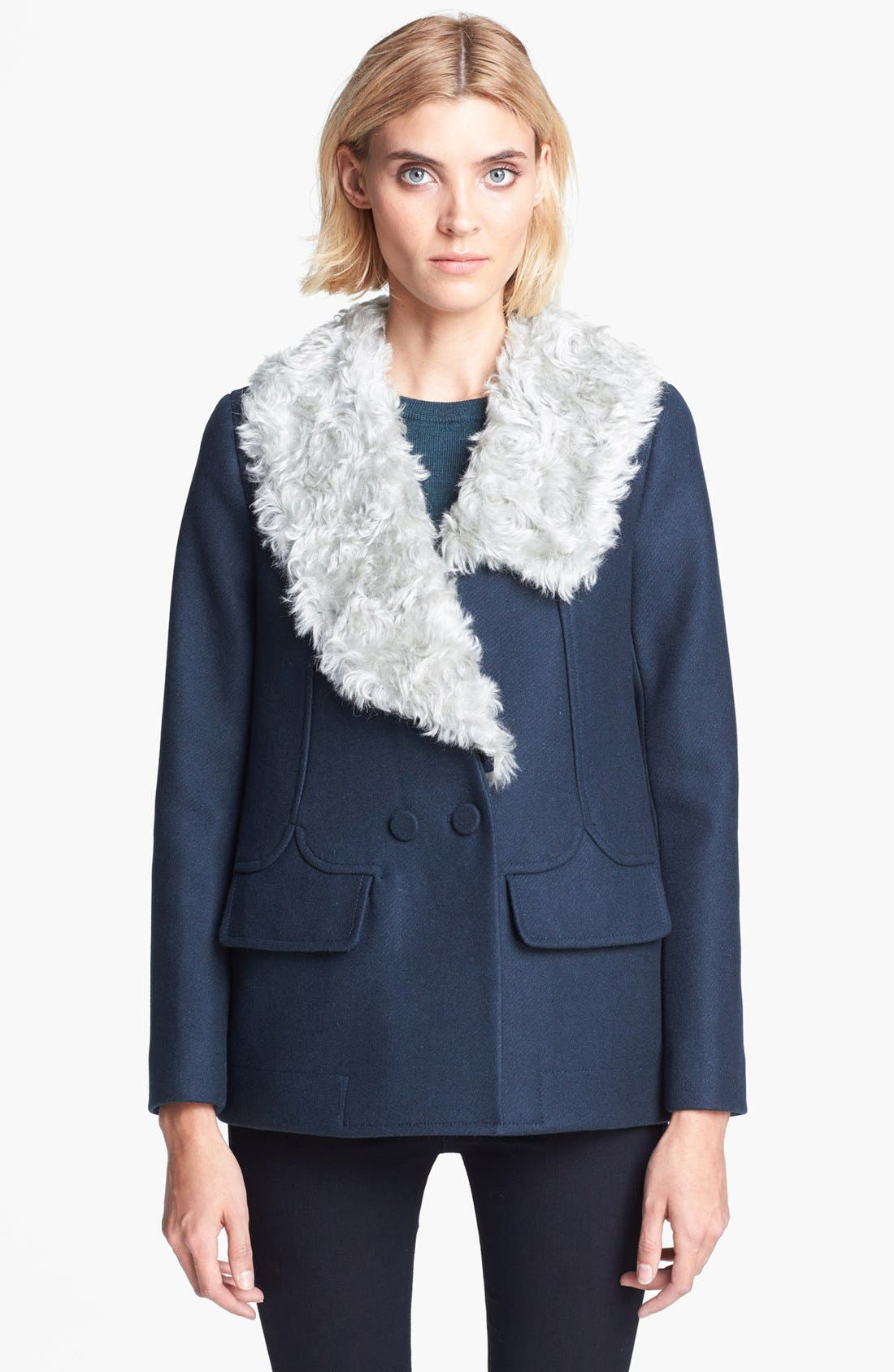 Alternate Image 4  - Carven Double Breasted Coat with Removable Faux Fur Collar