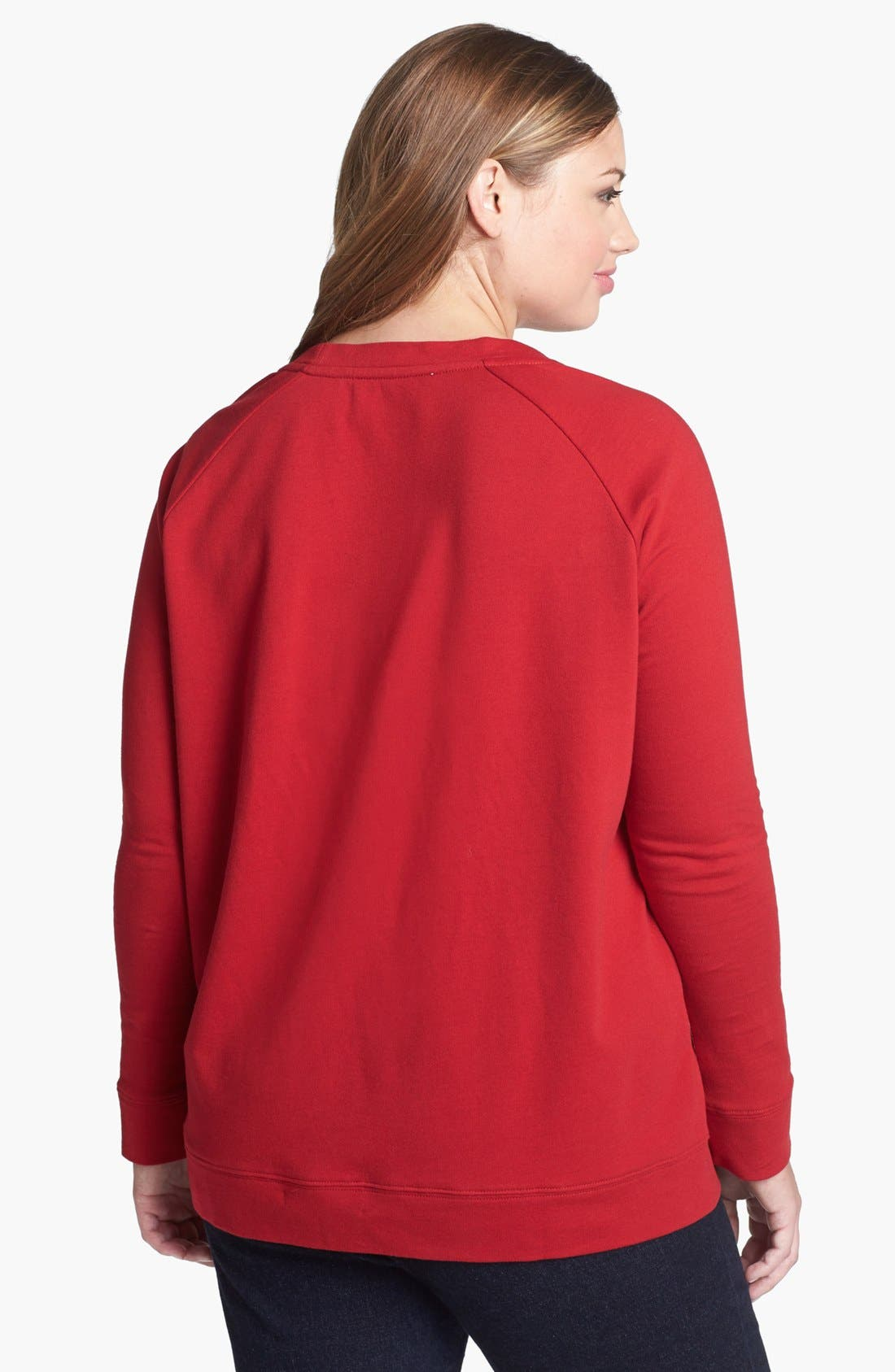 Alternate Image 2  - Two by Vince Camuto Jeweled Raglan Sleeve Sweatshirt (Plus Size)