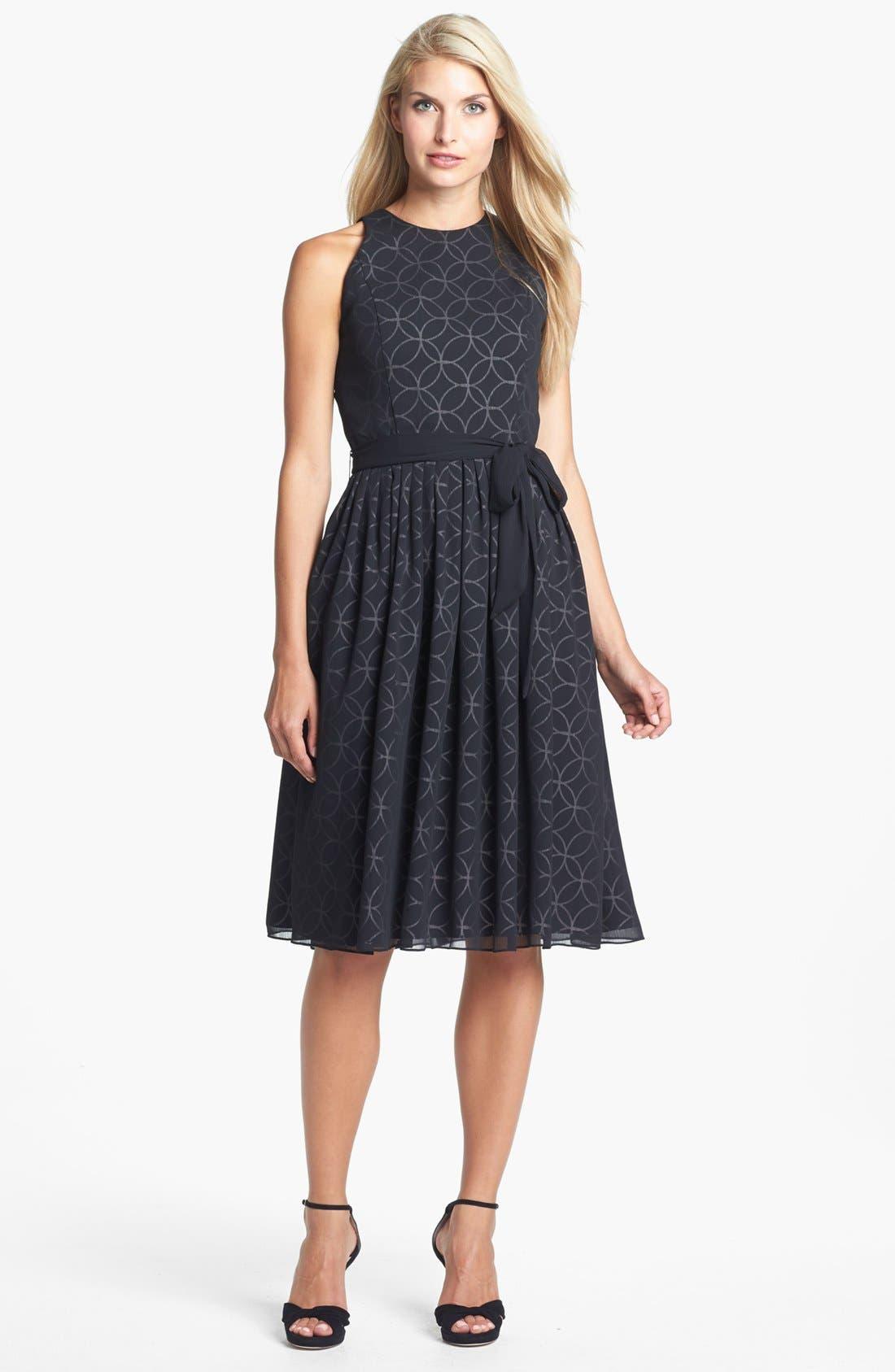 Alternate Image 1 Selected - Isaac Mizrahi New York Print Chiffon Fit & Flare Dress
