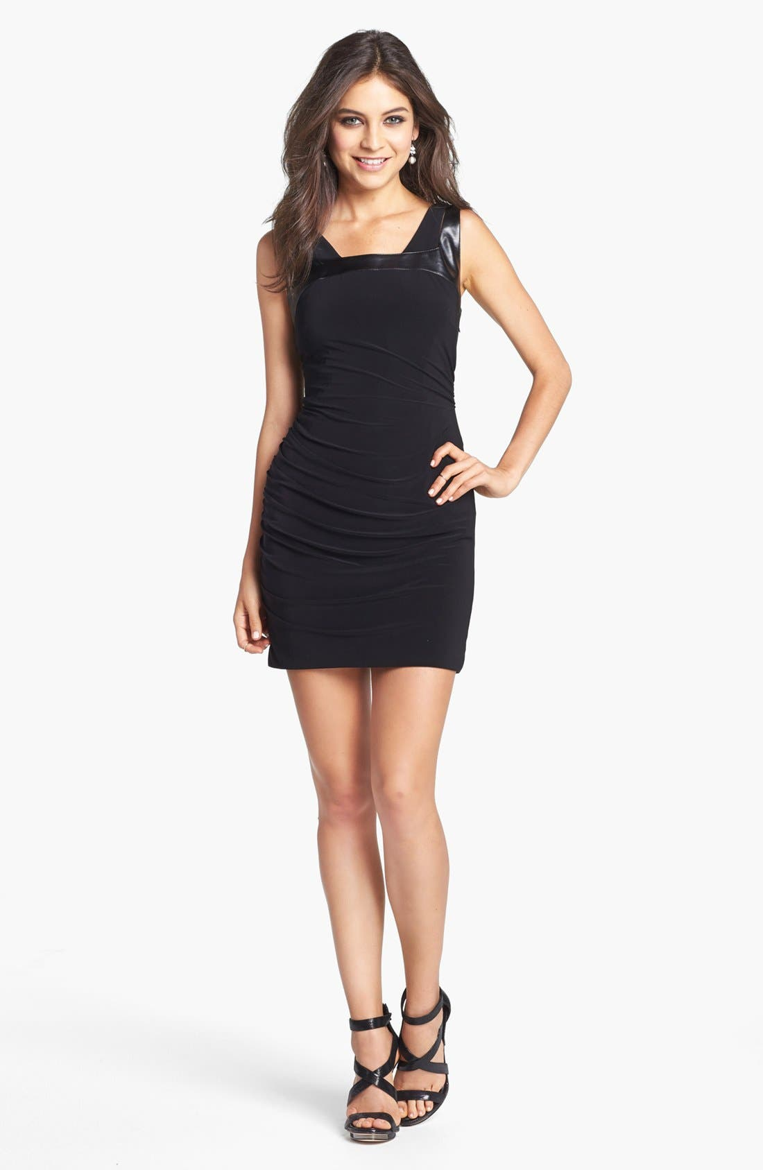 Main Image - Hailey Logan Faux Leather Detail Ruched Dress (Juniors) (Online Only)