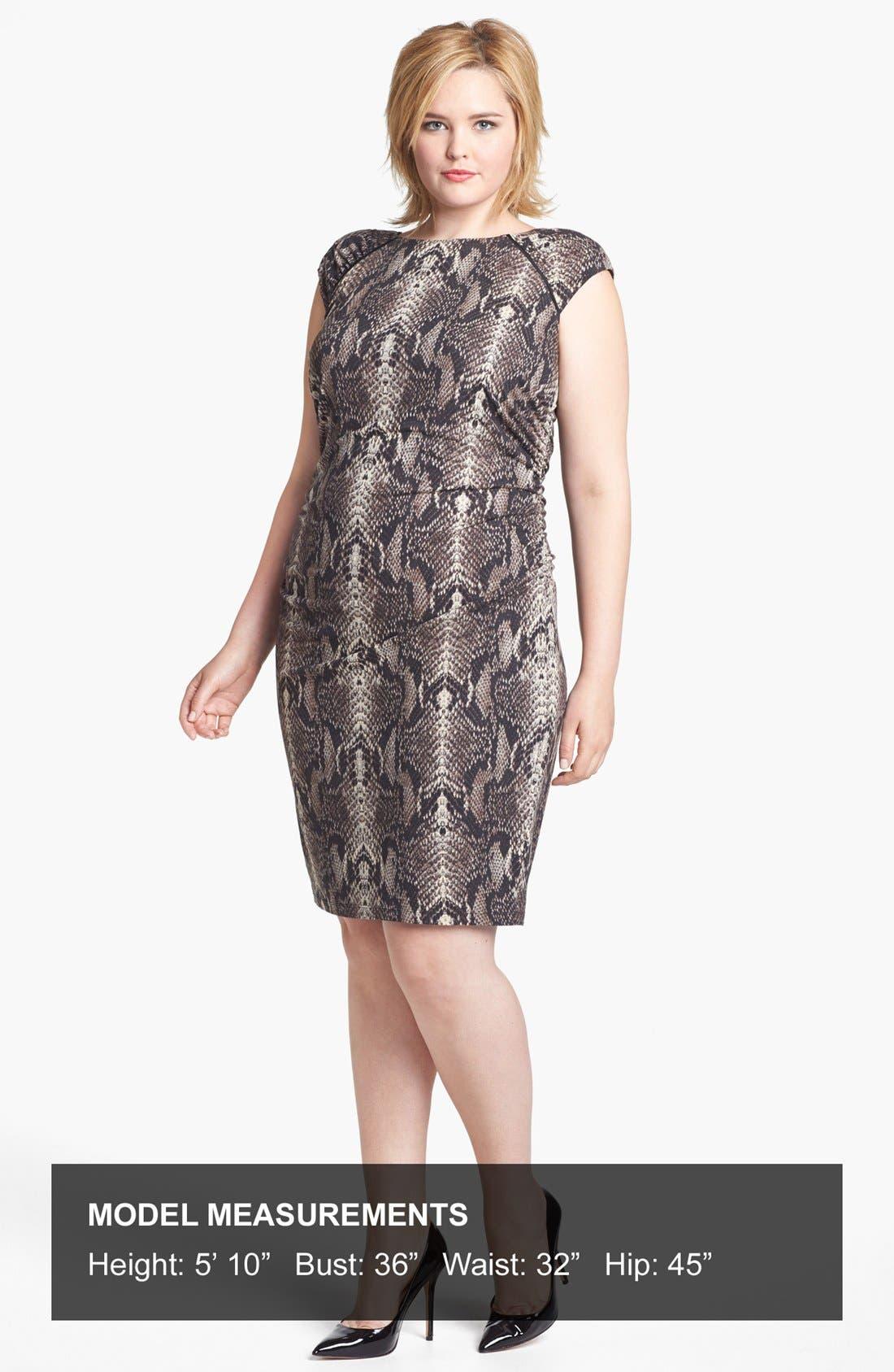 Alternate Image 4  - Ivy & Blu Ruched Sheath Dress (Plus Size)