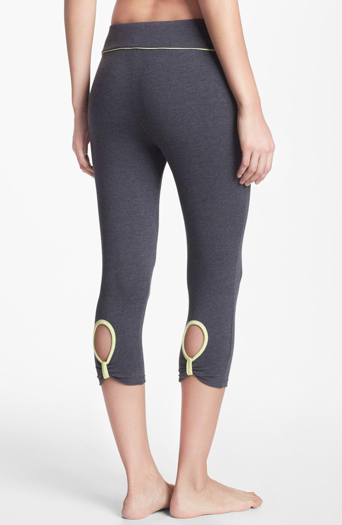Main Image - Pink Lotus Crop Keyhole Leggings