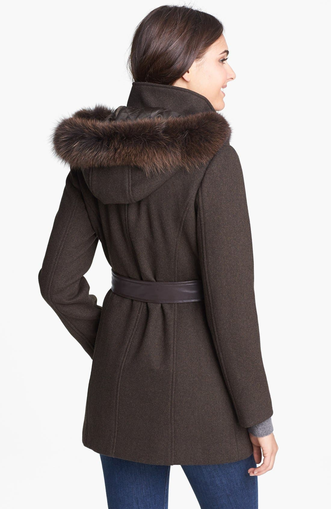 Alternate Image 2  - Ellen Tracy Genuine Coyote Fur Trim Belted Coat