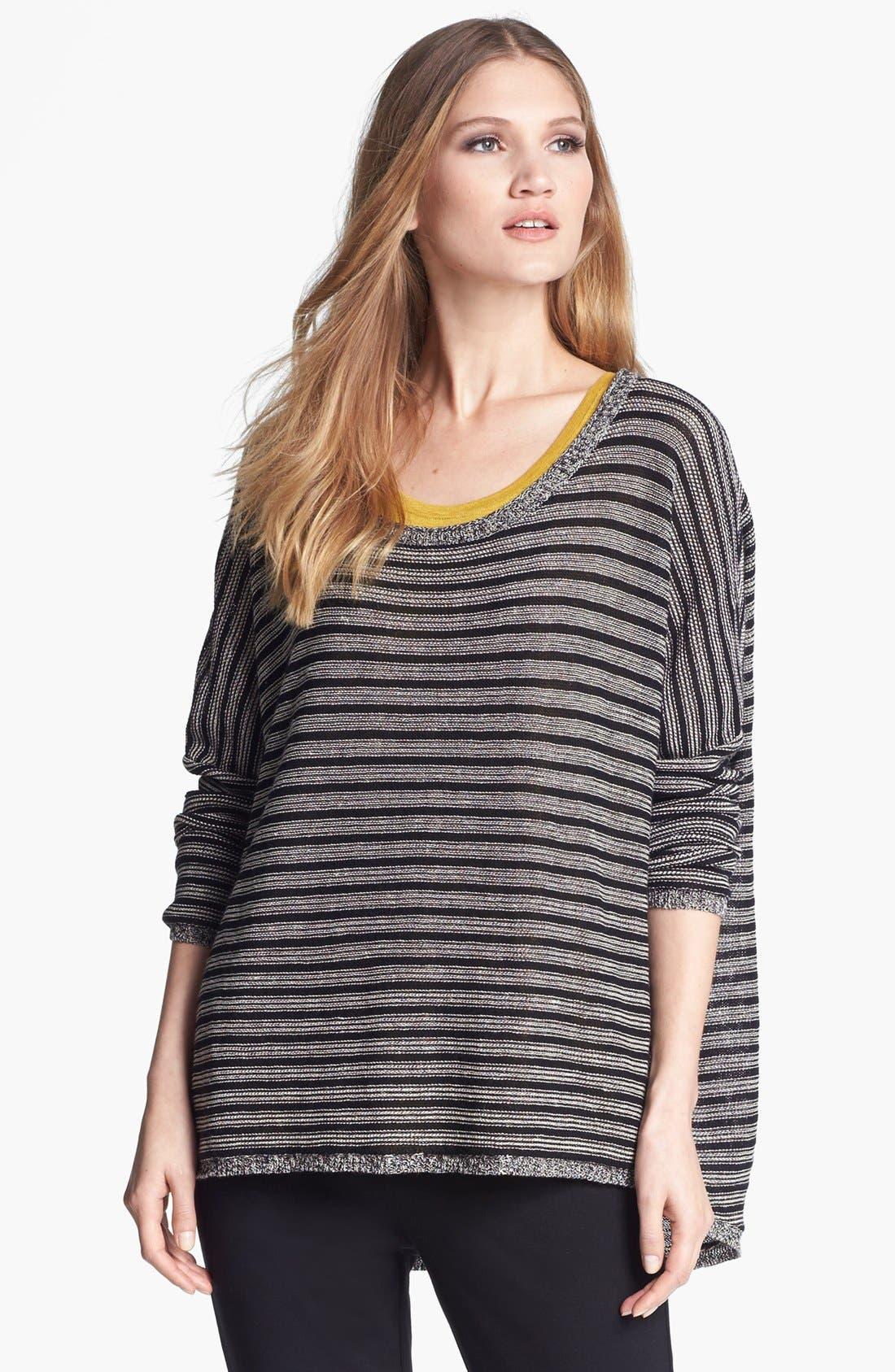Alternate Image 1 Selected - Eileen Fisher Wool & Linen Stripe Bateau Neck Sweater