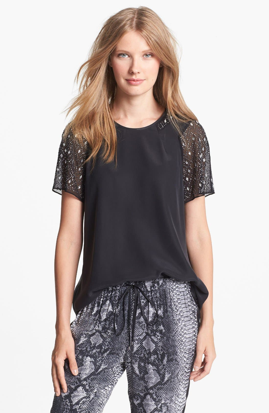 Alternate Image 1 Selected - Rebecca Taylor 'Nailheads' Embellished Silk Tee