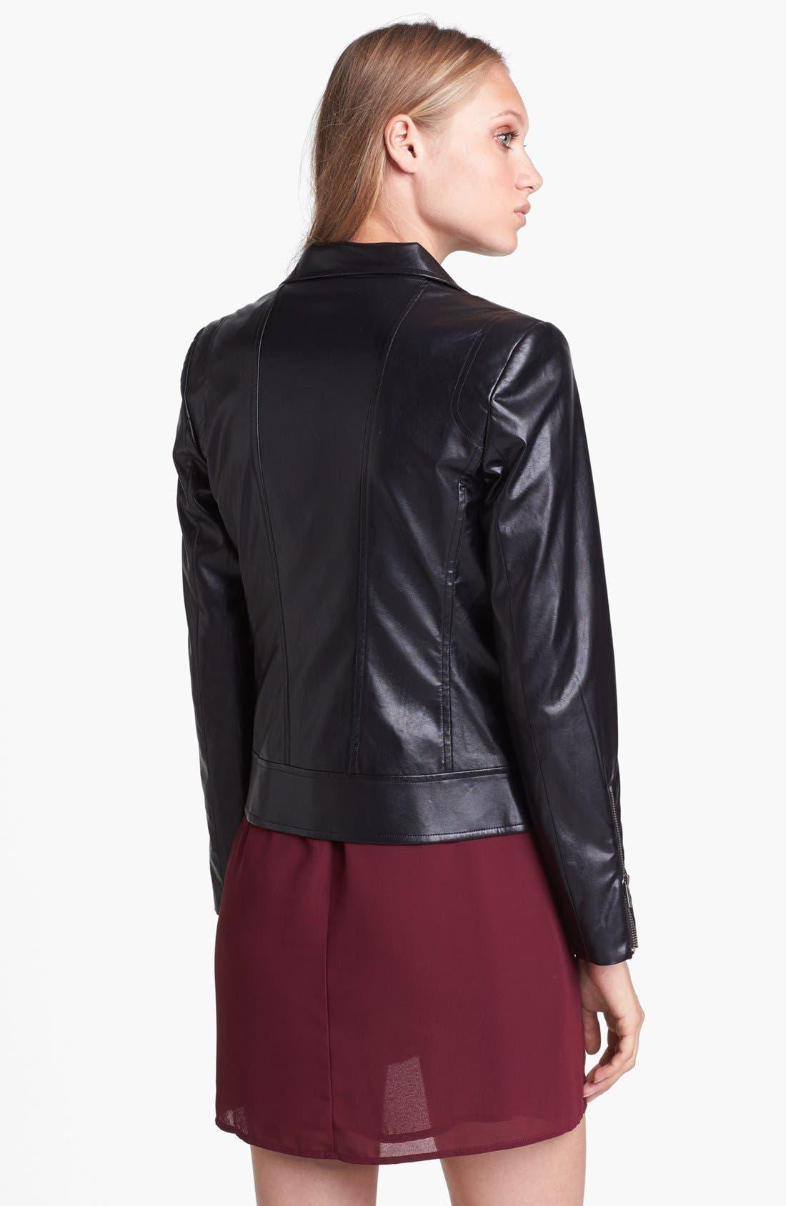 Alternate Image 2  - Mural Faux Leather Moto Jacket