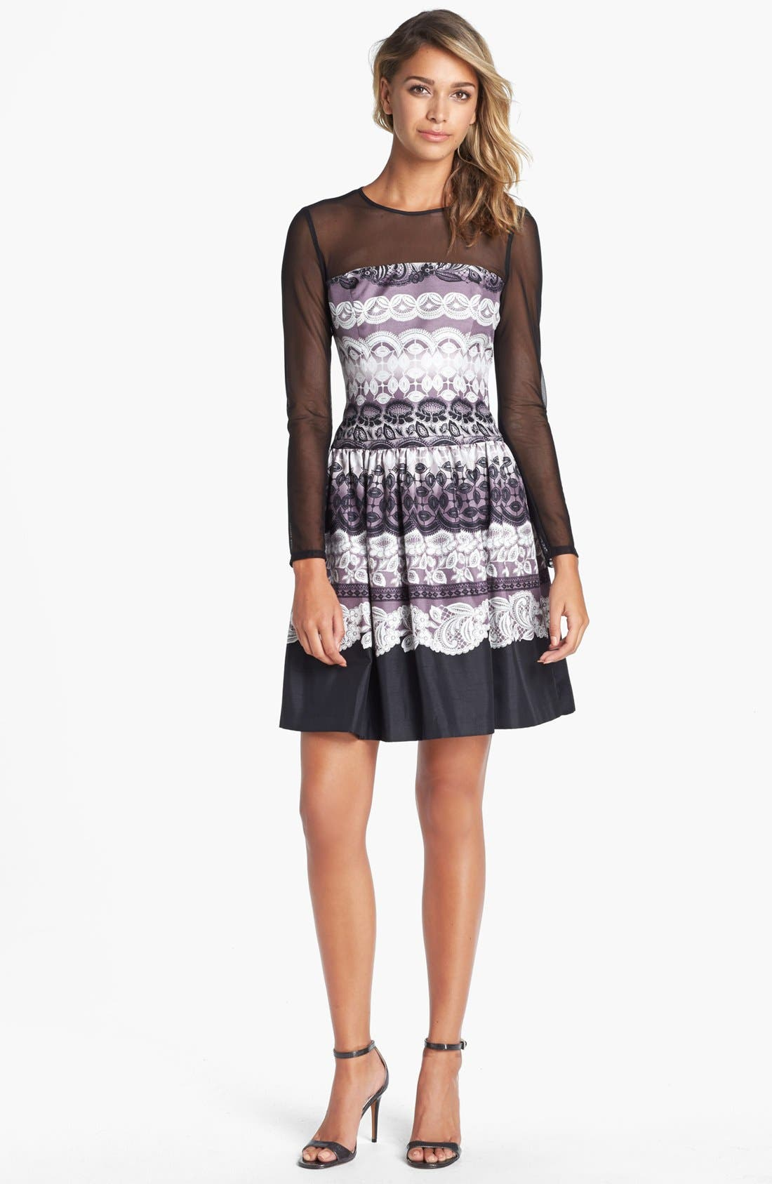 Alternate Image 1 Selected - Eliza J Sheer Yoke Print Fit & Flare Dress