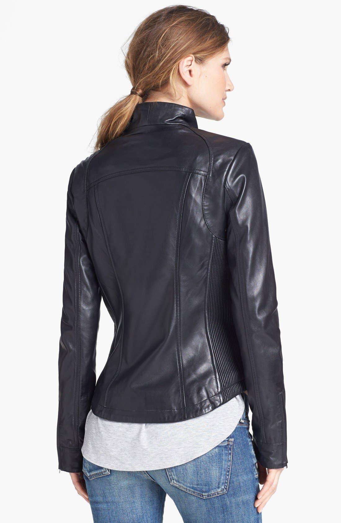 Alternate Image 2  - LaMarque Ribbed Side Leather Jacket