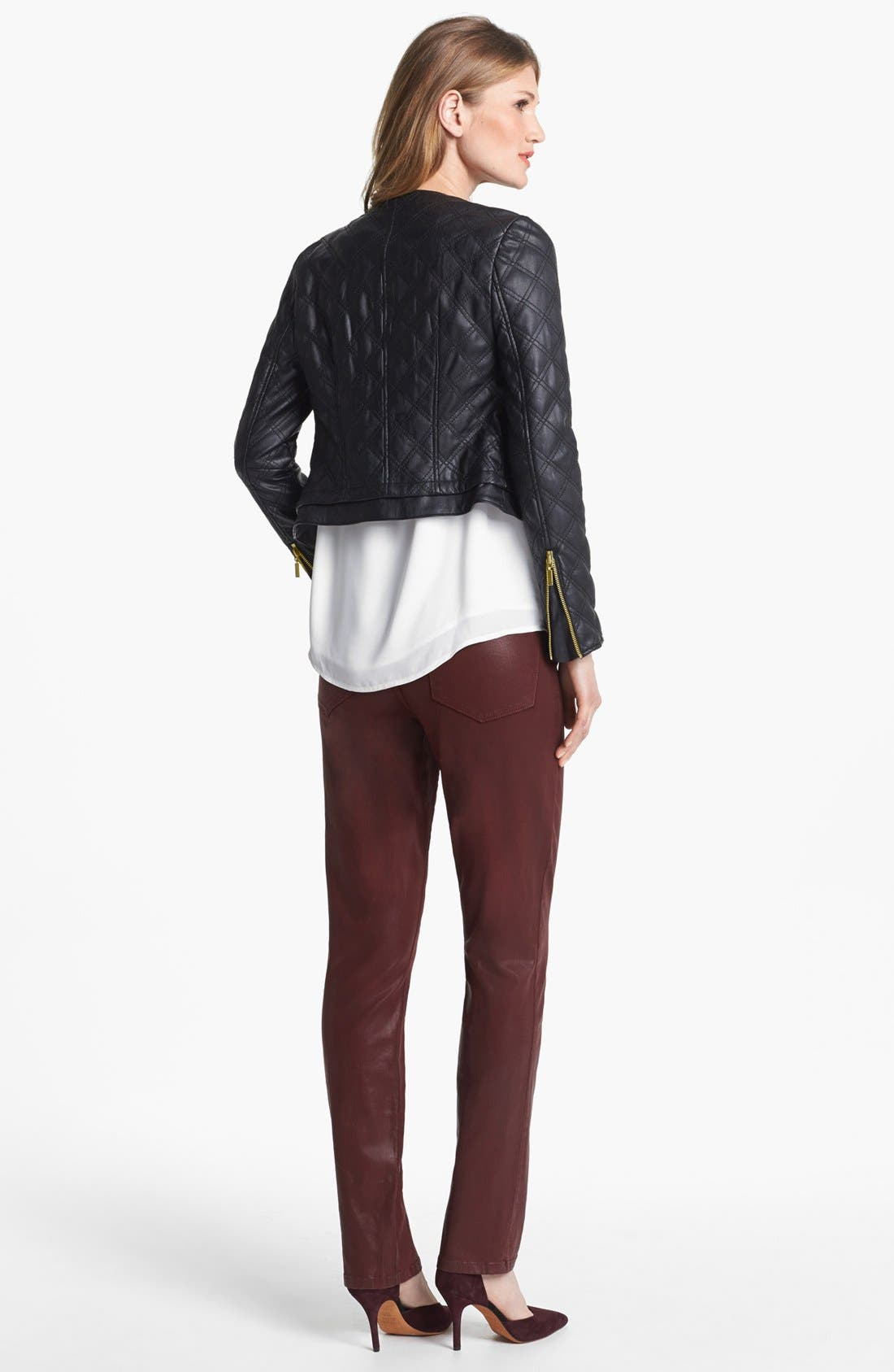 Alternate Image 5  - Chaus Collarless Quilted Faux Leather Jacket