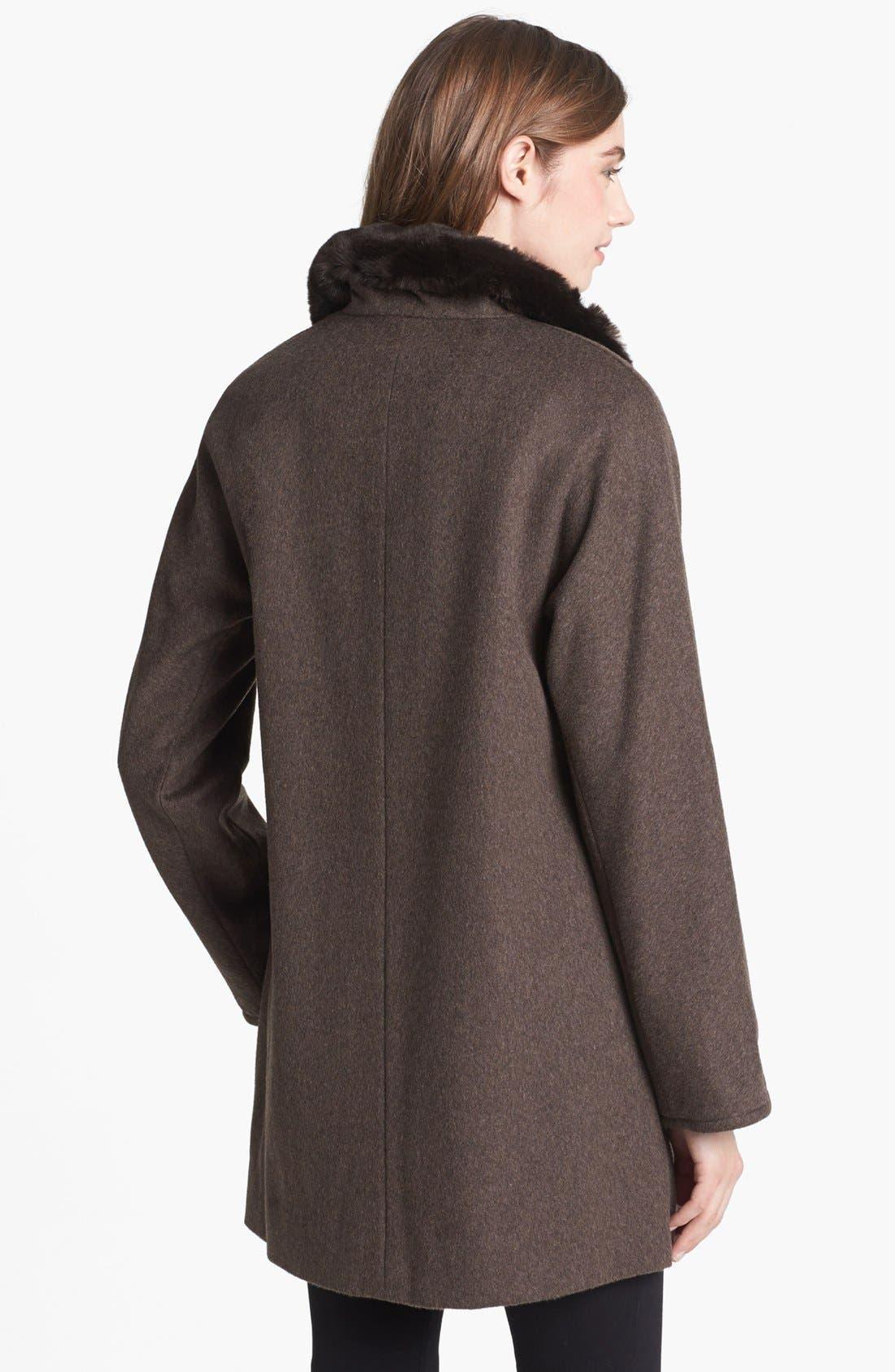 Alternate Image 2  - Ellen Tracy Faux Fur Trim Wool Blend Coat (Online Only)