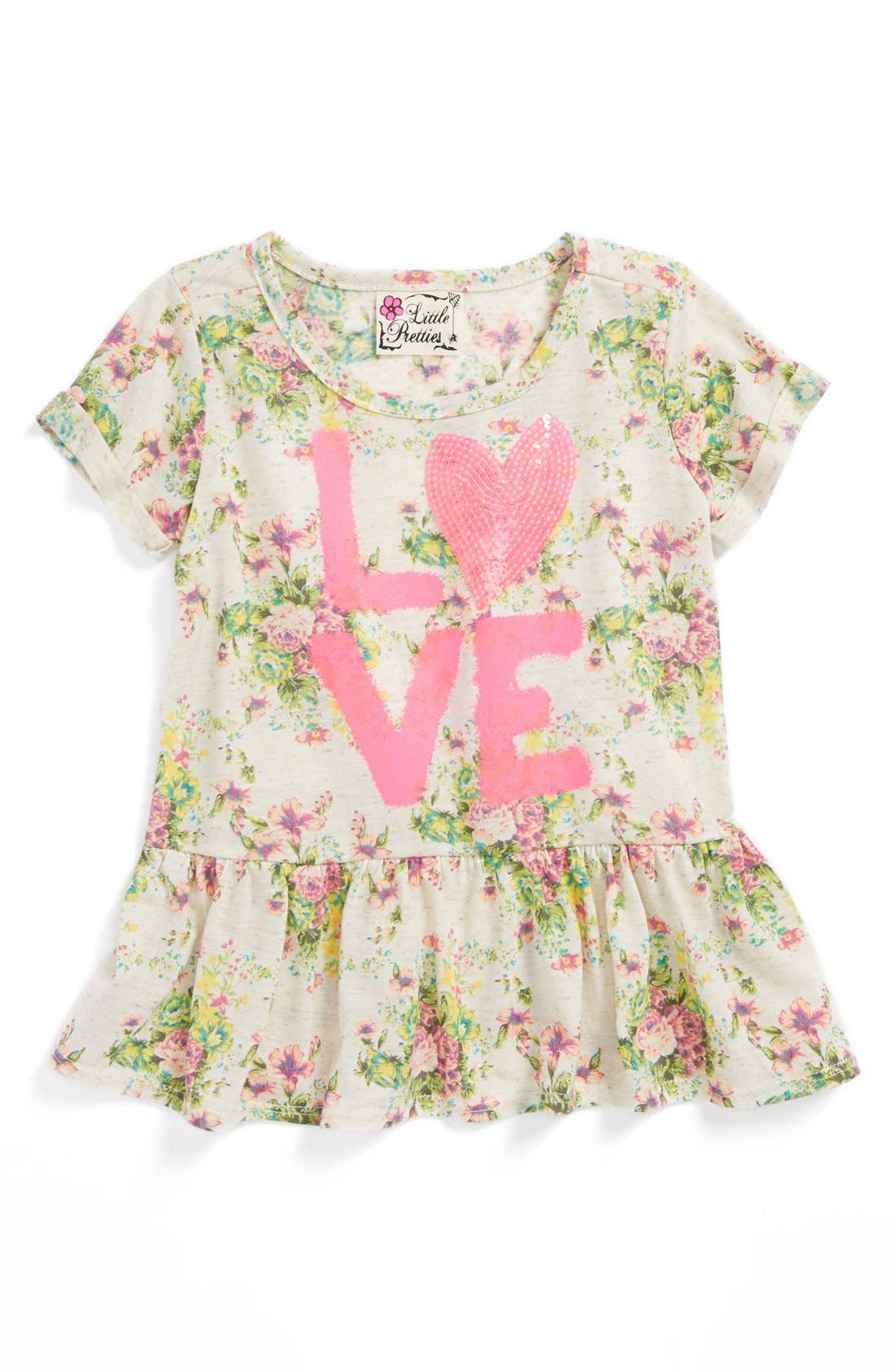 Main Image - Little Pretties 'Love' Peplum Tee (Toddler Girls)