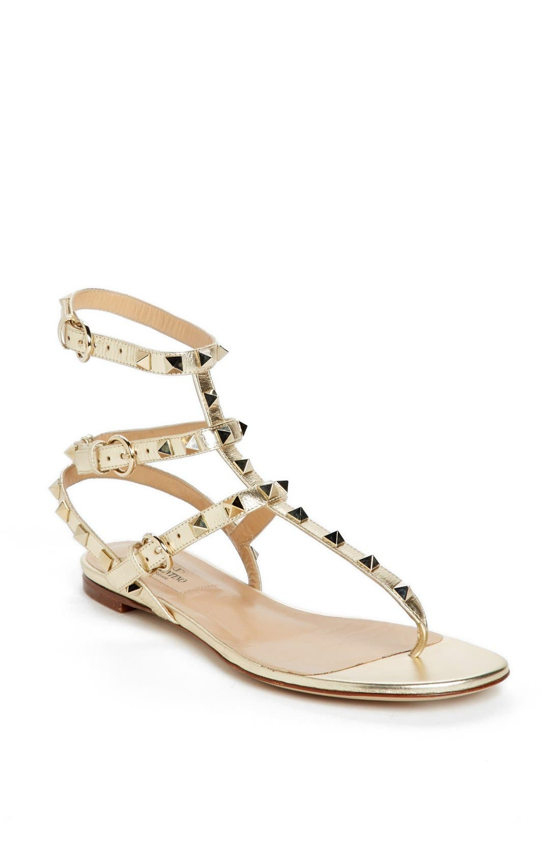 Alternate Image 1 Selected - Valentino 'Rockstud Triple Strap' Thong Sandal