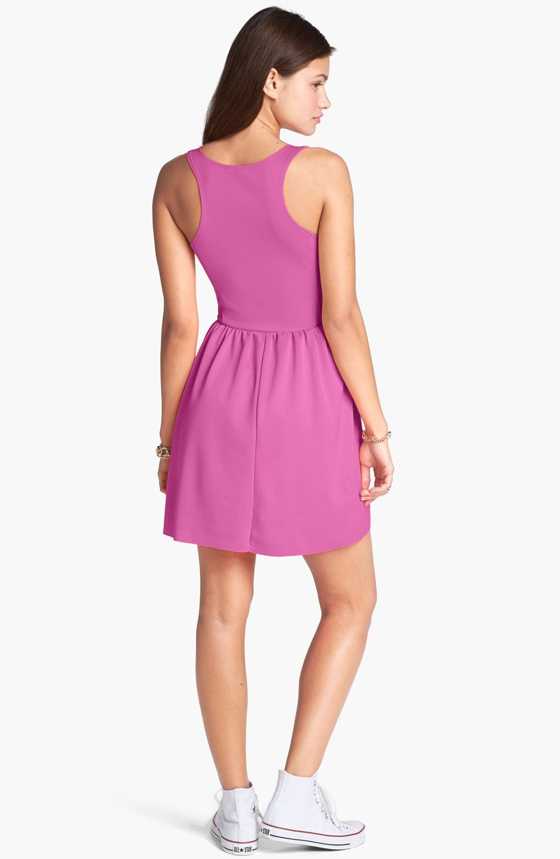 Alternate Image 2  - Frenchi® Ponte Racerback Dress (Juniors)
