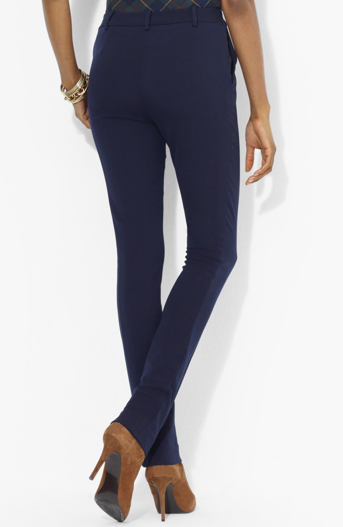Alternate Image 2  - Lauren Ralph Lauren Slim Wool Pants (Petite)