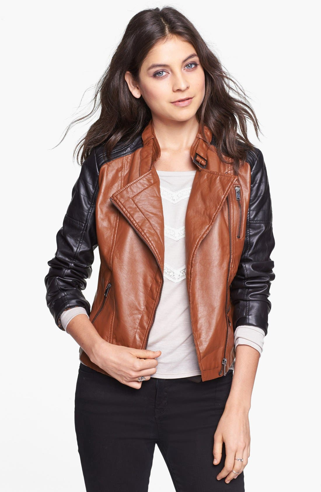 Alternate Image 1  - Dollhouse Two-Tone Faux Leather Moto Jacket (Juniors) (Online Only)
