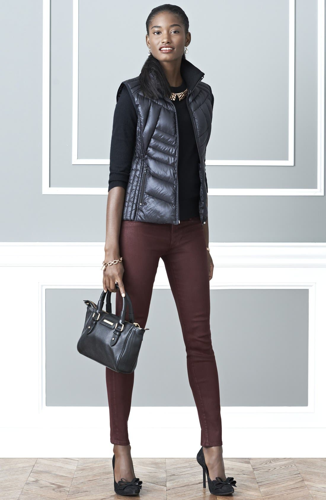 Main Image - Bernardo Goose Down Vest, kate spade new york sweater & Hudson Jeans Super Skinny Jeans