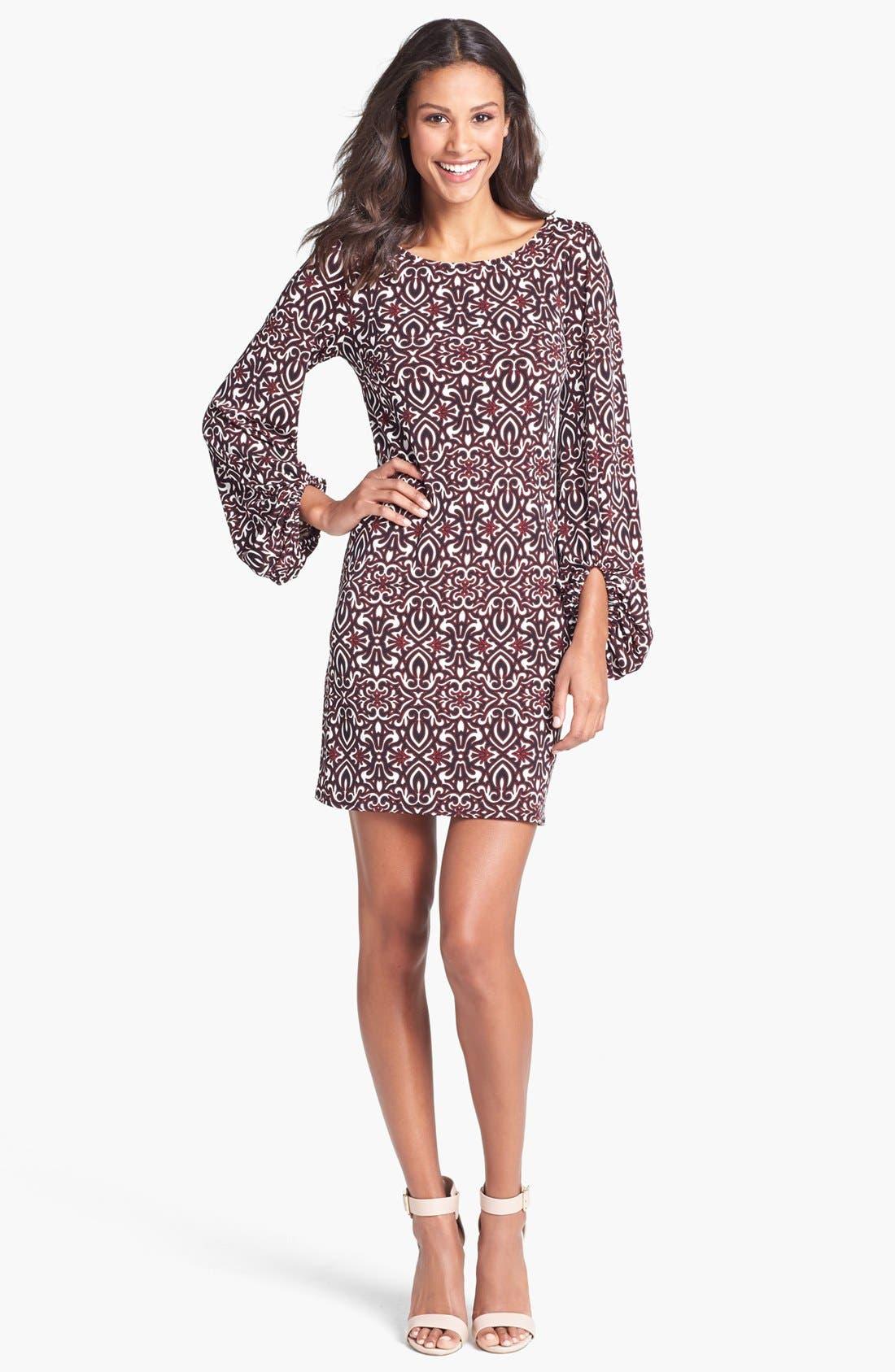 Main Image - Laundry by Shelli Segal Blouson Sleeve Print Jersey Dress (Regular & Petite)