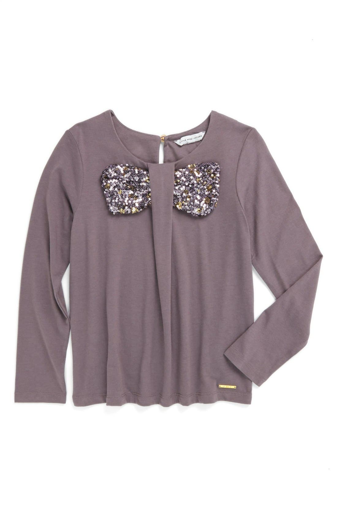 Alternate Image 1 Selected - LITTLE MARC JACOBS Sequin Bow Top (Toddler Girls, Little Girls & Big Girls)