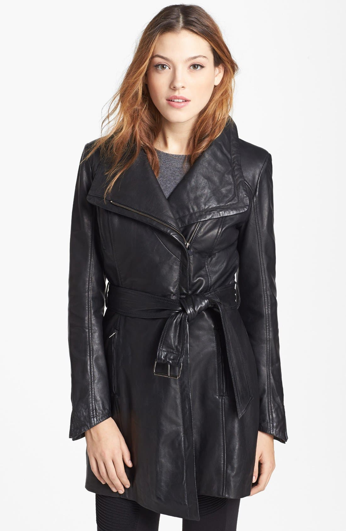 Alternate Image 1 Selected - LaMarque Belted Leather Coat