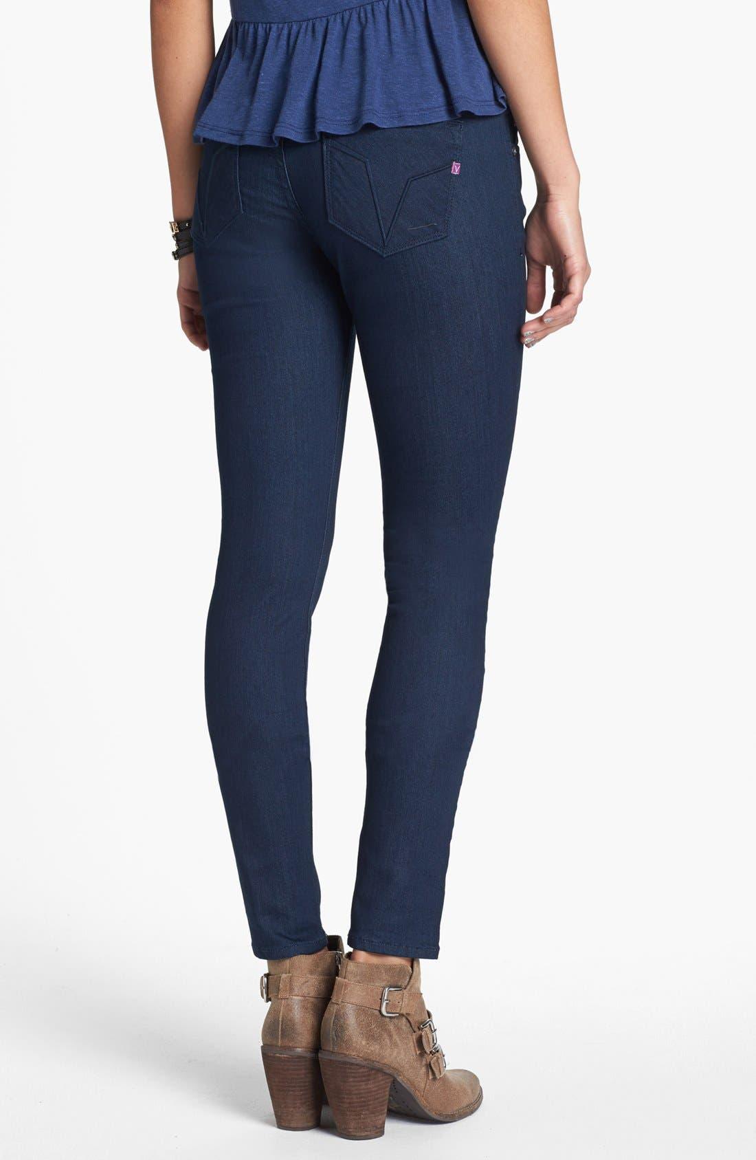 Alternate Image 2  - Vigoss 'Chelsea' V Pocket Skinny Jeans (Dark Wash) (Juniors) (Online Only)