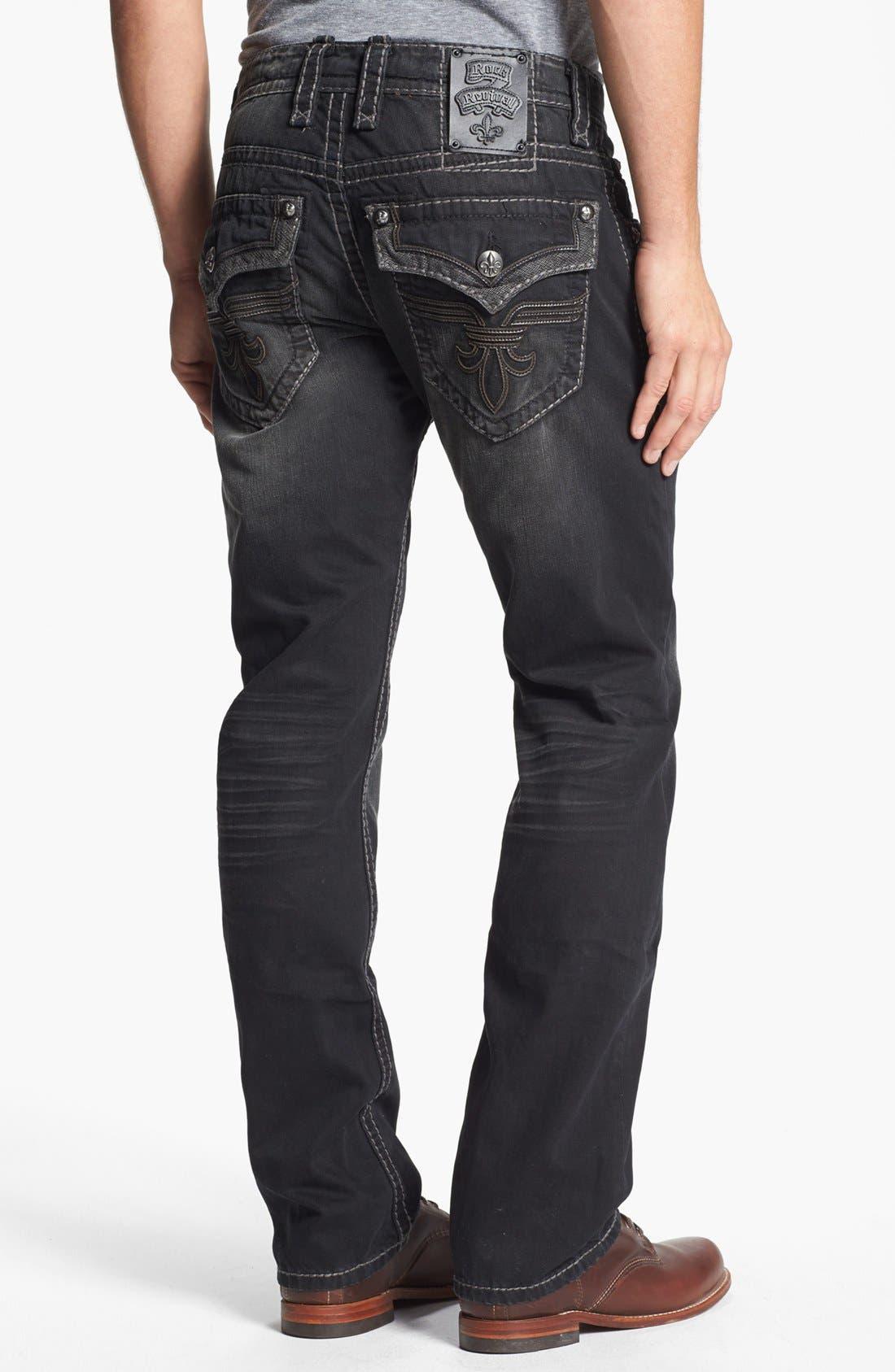 Alternate Image 1 Selected - Rock Revival 'Chopper' Straight Leg Jeans (Black)