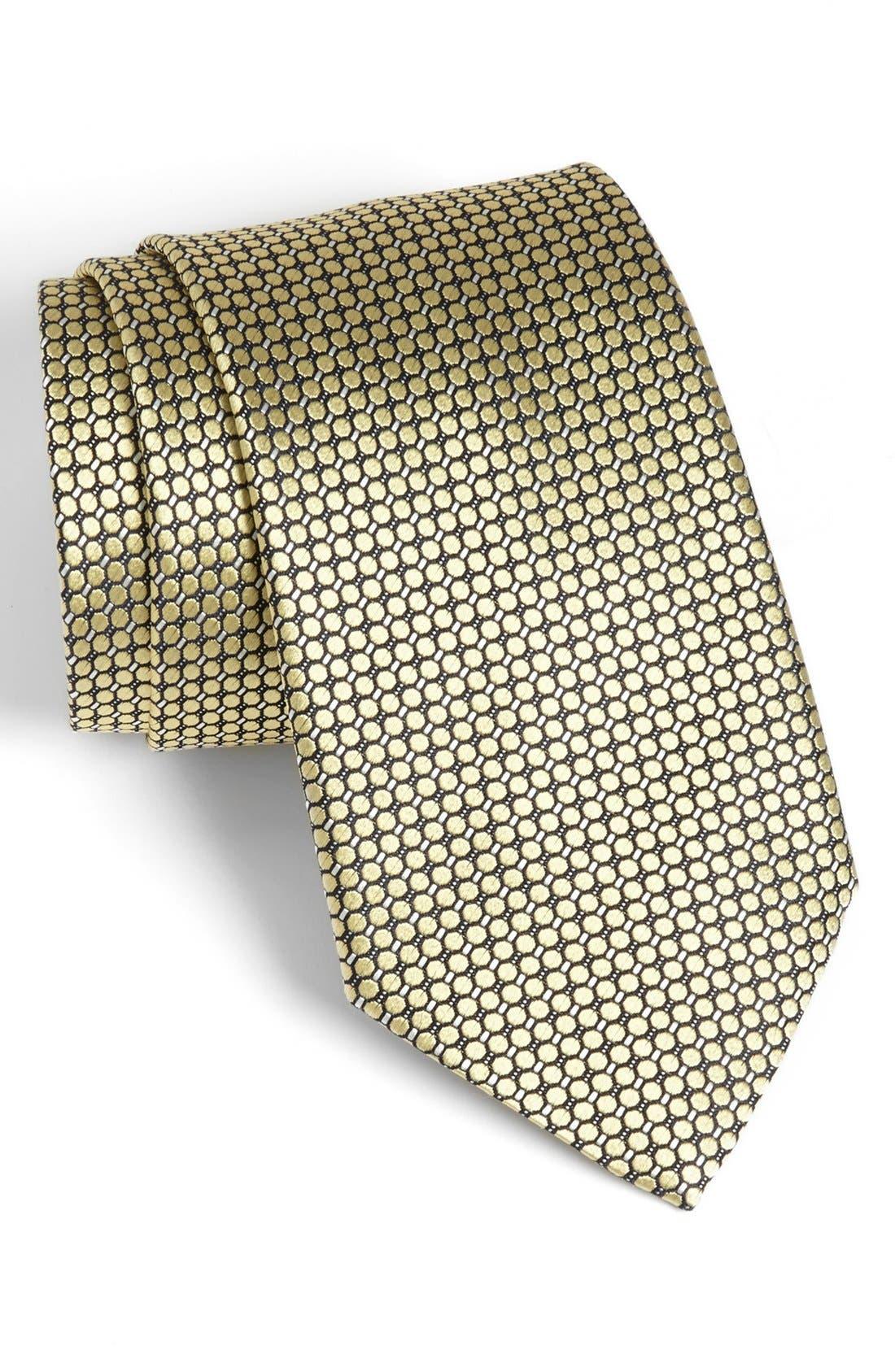 Main Image - Ermenegildo Zegna Solid Circle Grid Woven Silk Tie