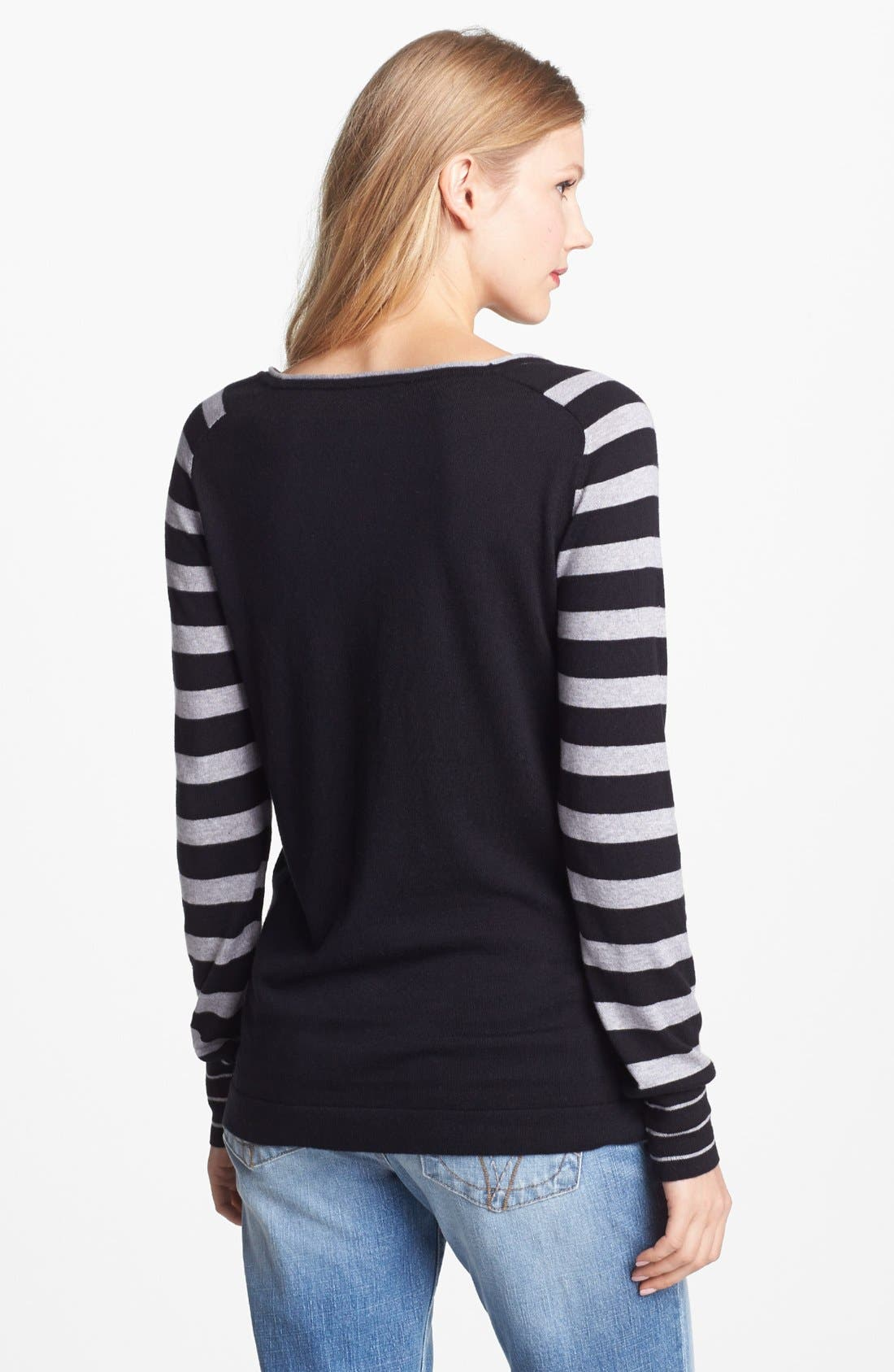 Alternate Image 2  - Vince Camuto Mixed Stripe Colorblock Sweater