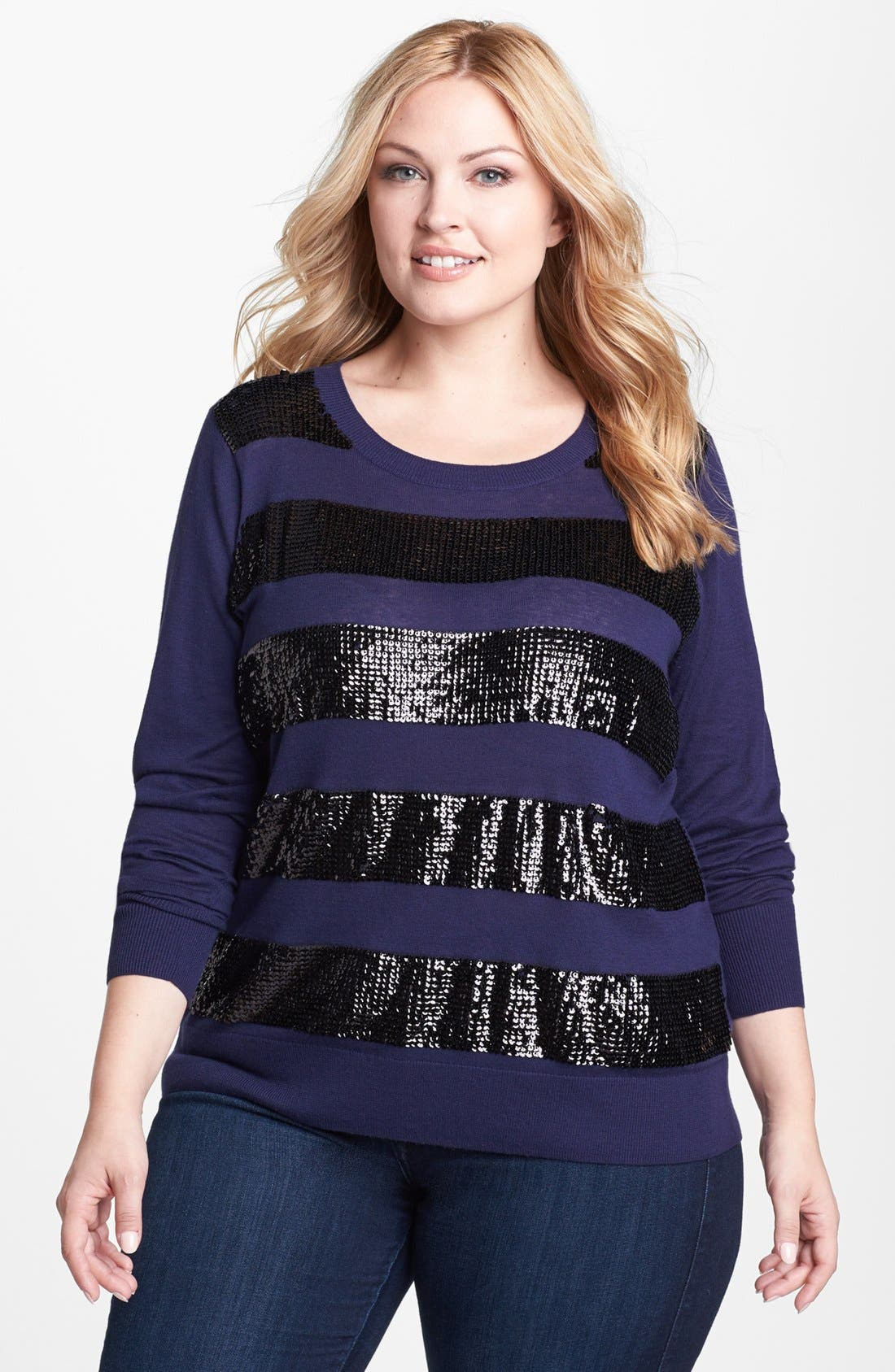 Alternate Image 1 Selected - Halogen® Crewneck Sweater (Plus Size)