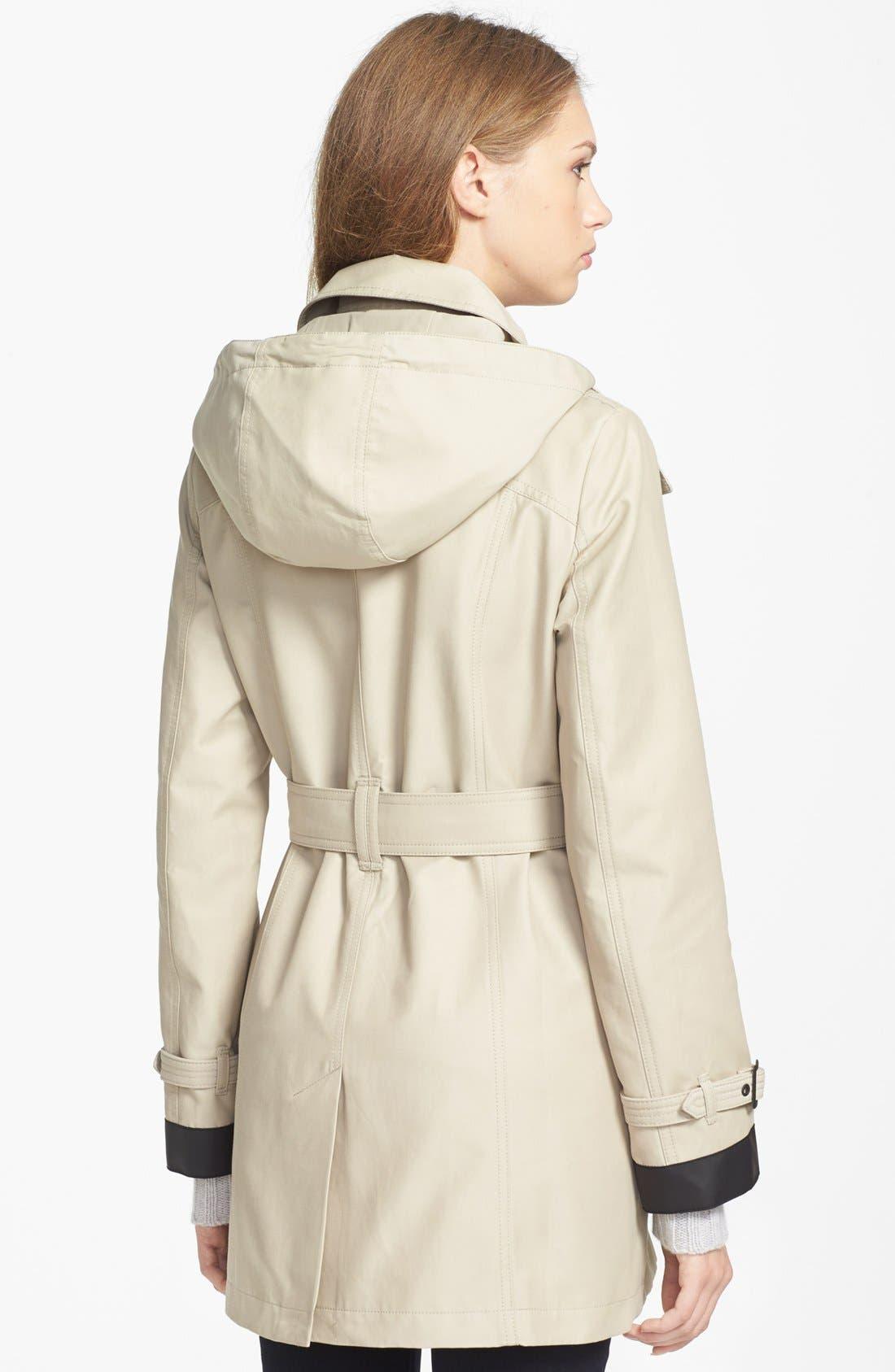 Alternate Image 2  - London Fog Asymmetrical Soft Shell Trench Coat (Regular & Petite)