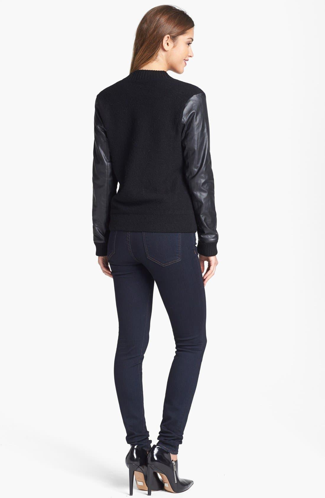 Alternate Image 2  - Halogen® Wool & Faux Leather Jacket (Regular & Petite)