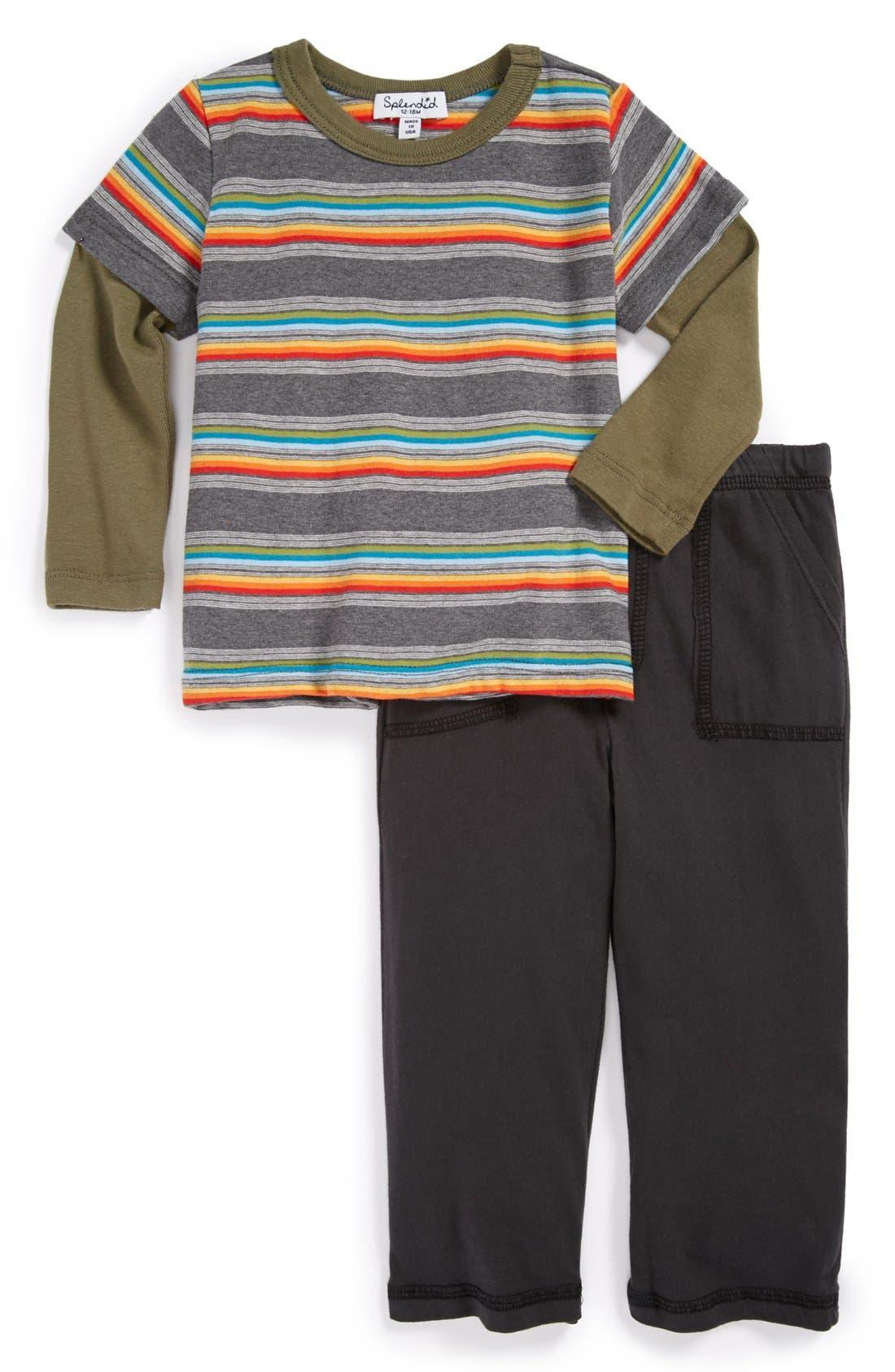 Alternate Image 1 Selected - Splendid 'Twofer' Top & Pants (Baby)