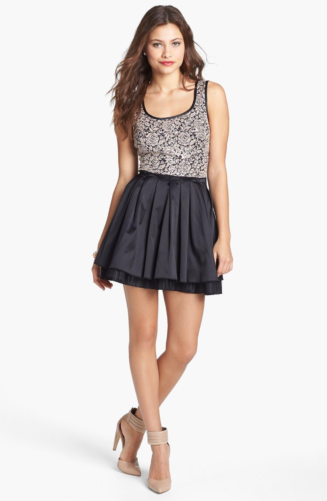 Alternate Image 1 Selected - Trixxi Lace Bodice Skater Dress (Juniors)