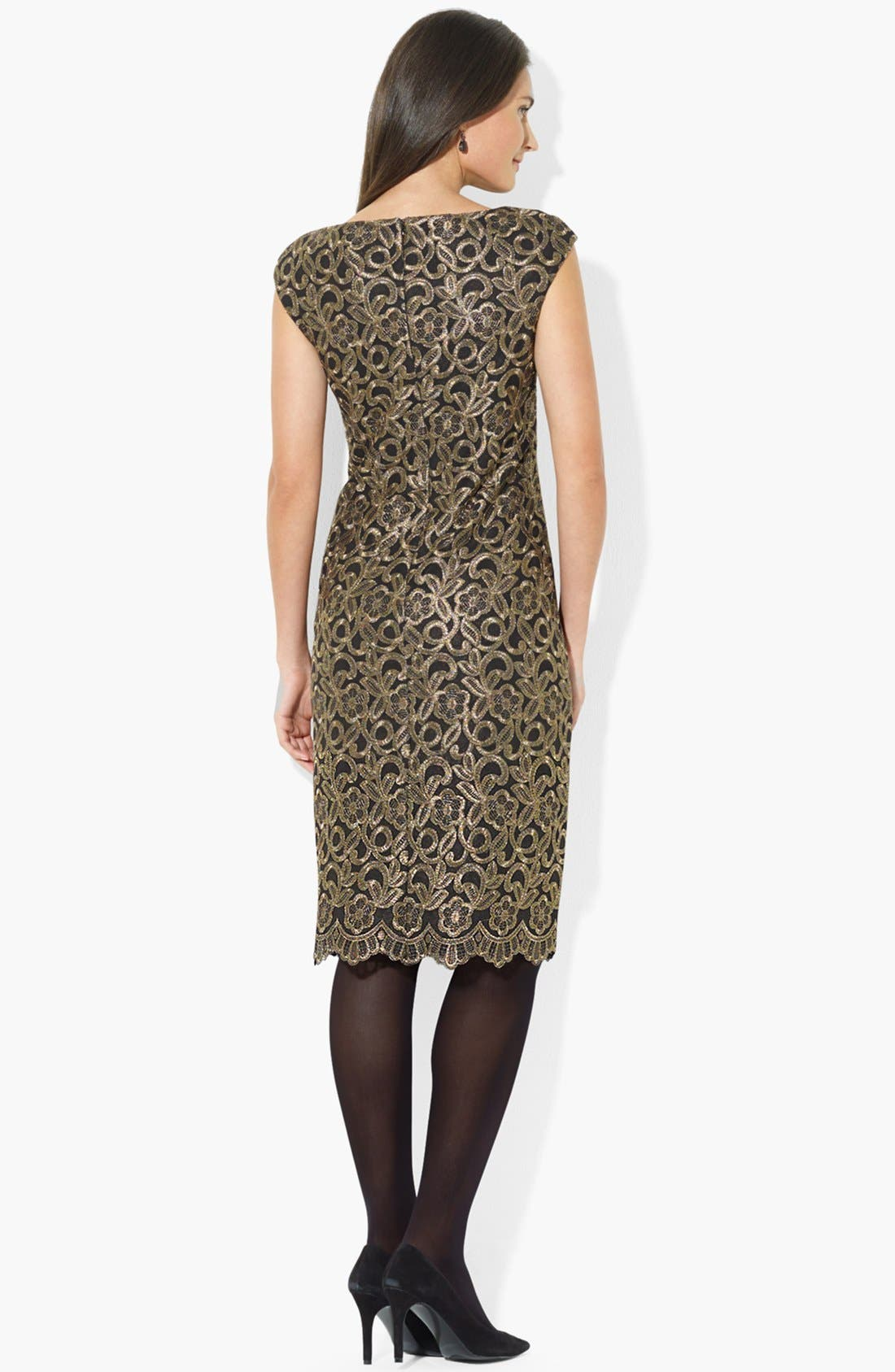 Alternate Image 2  - Lauren Ralph Lauren Cap Sleeve Lace Sheath Dress