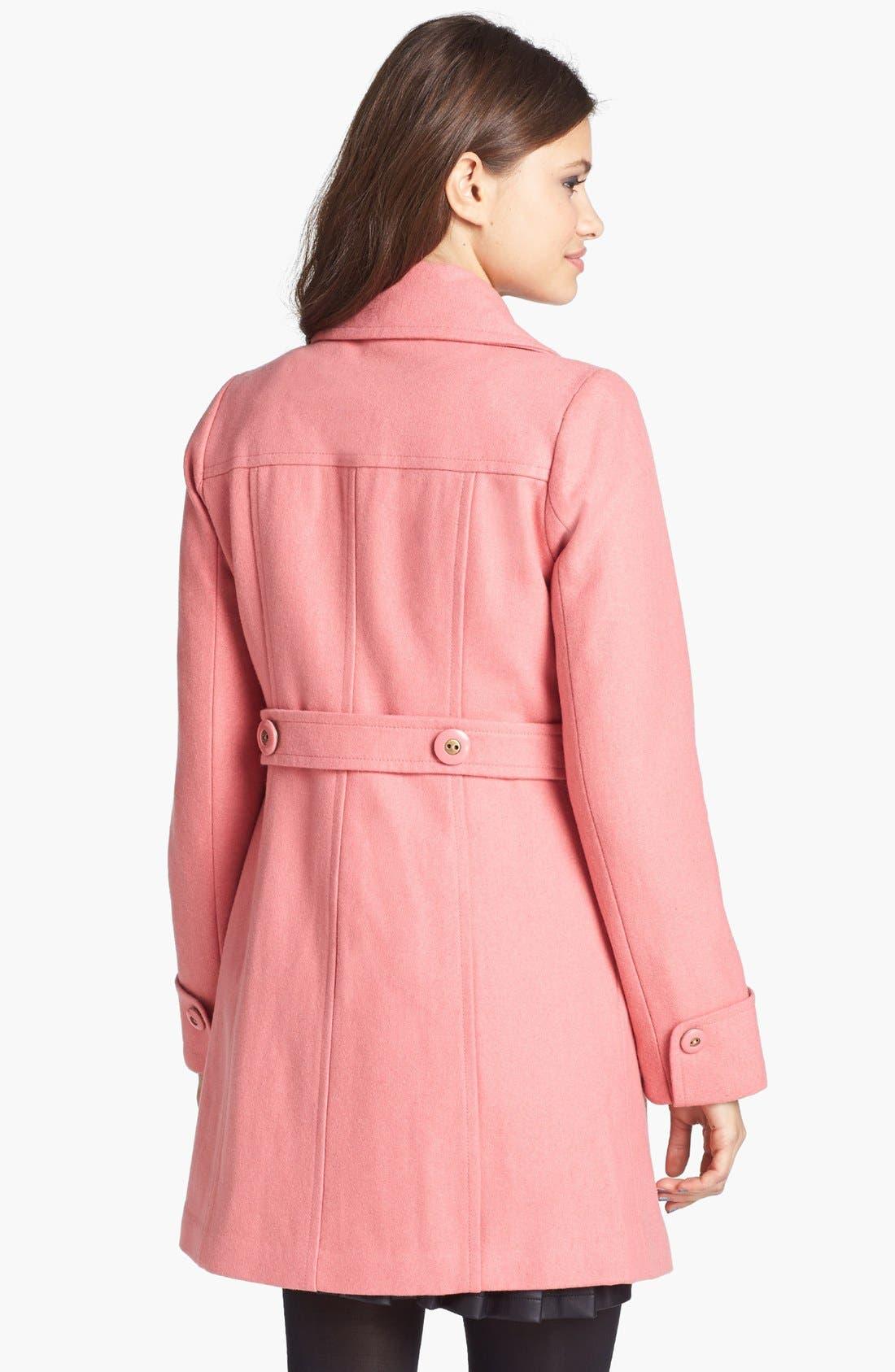 Alternate Image 2  - Tulle Button Detail Wool Coat (Juniors)