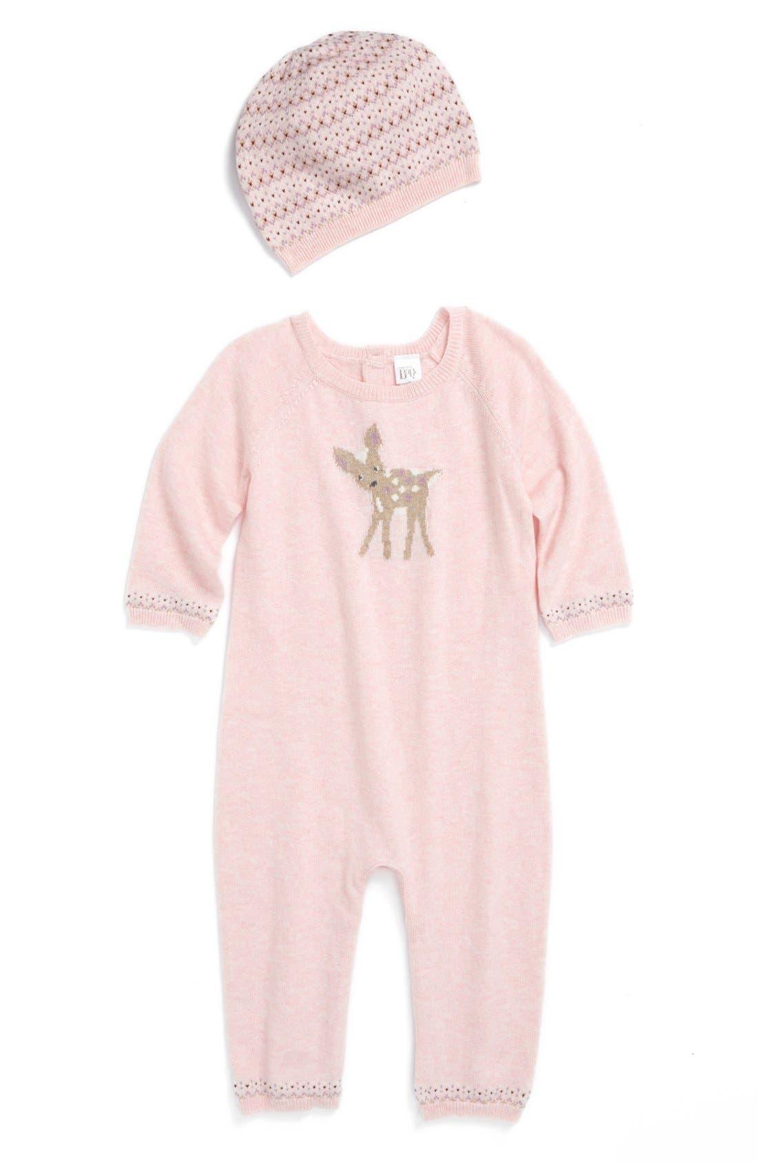 Alternate Image 1 Selected - Nordstrom Baby Romper & Hat (Baby Girls)