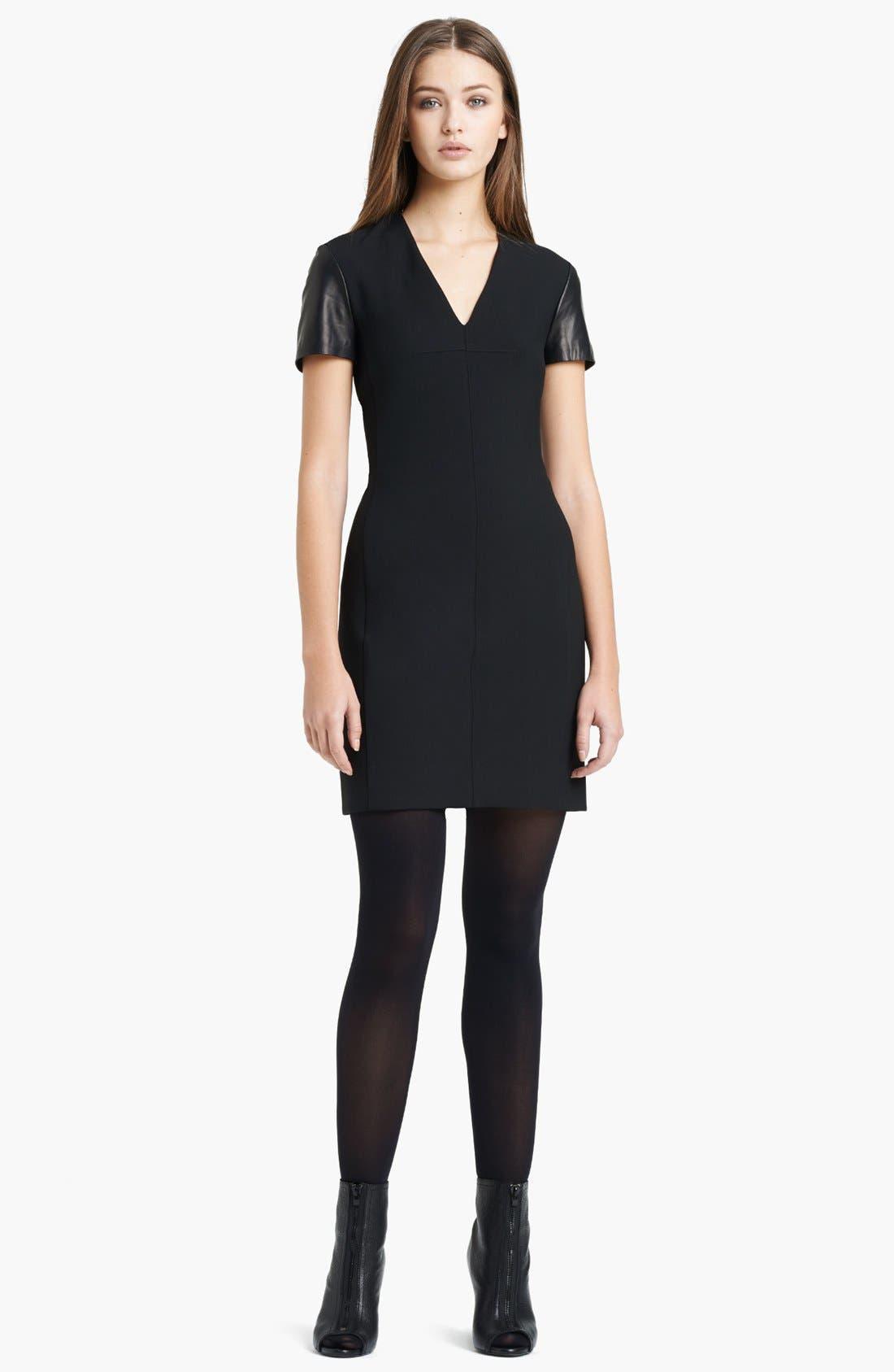 Main Image - Burberry London Leather Sleeve Dress