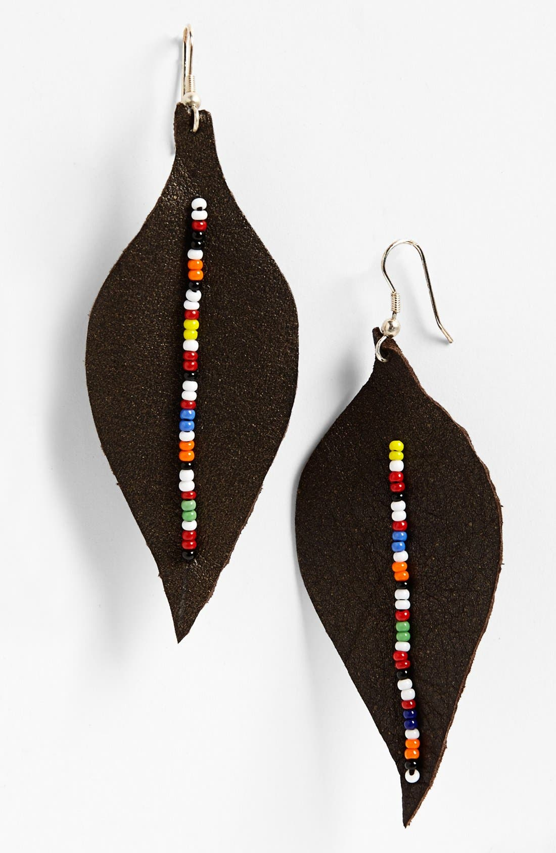 Alternate Image 1 Selected - Me to We Artisans Beaded Leather Leaf Earrings (Juniors)