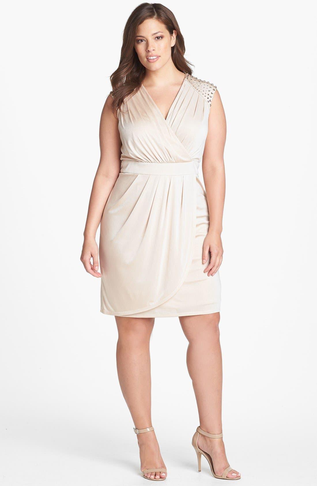 Alternate Image 1 Selected - Vince Camuto Embellished Faux Wrap Dress (Plus Size)