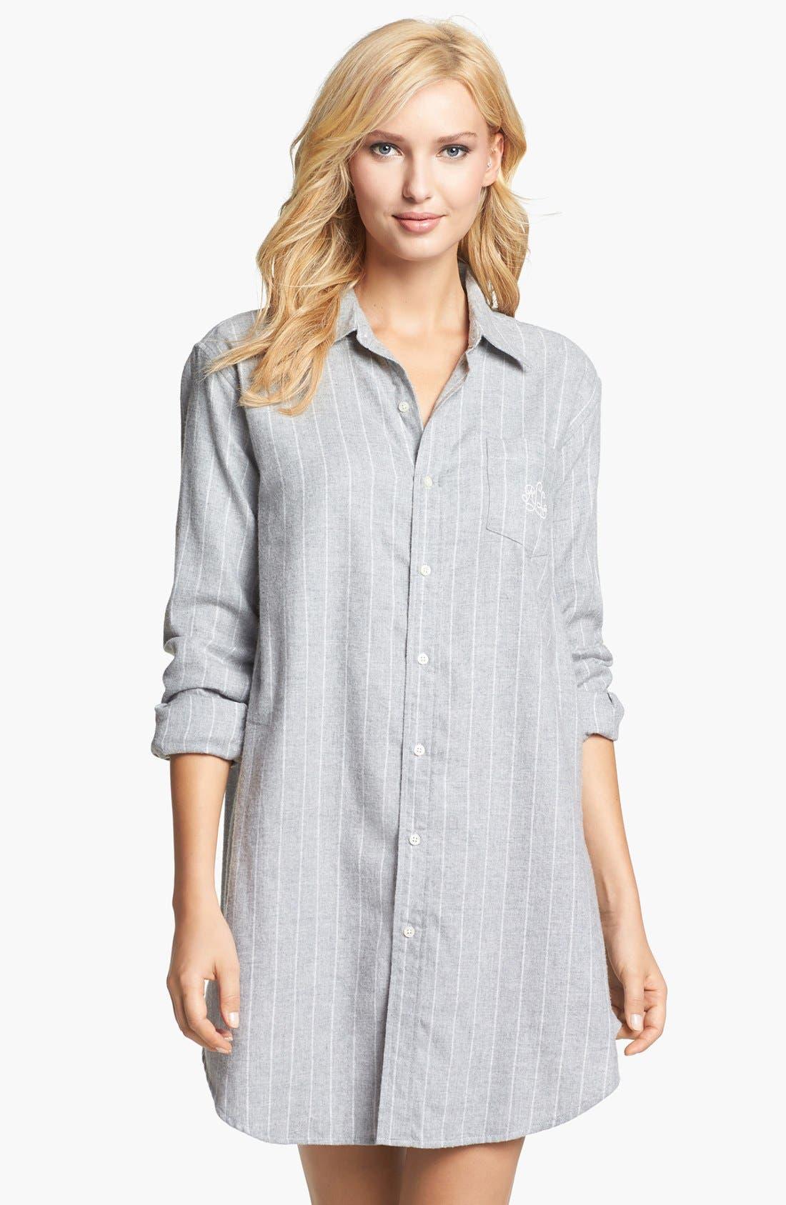 Alternate Image 1 Selected - Lauren Ralph Lauren 'Wicklow' Brushed Twill Sleep Shirt