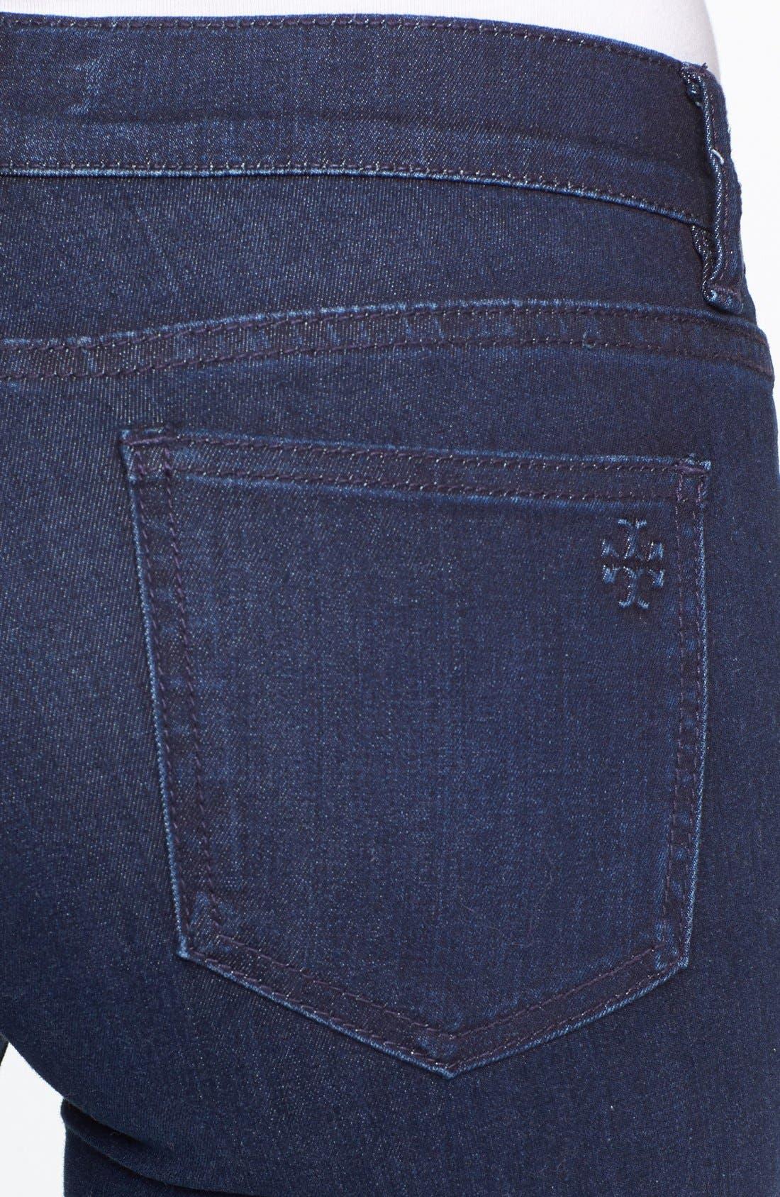 Alternate Image 3  - Tory Burch Stretch Skinny Jeans (Rinse)