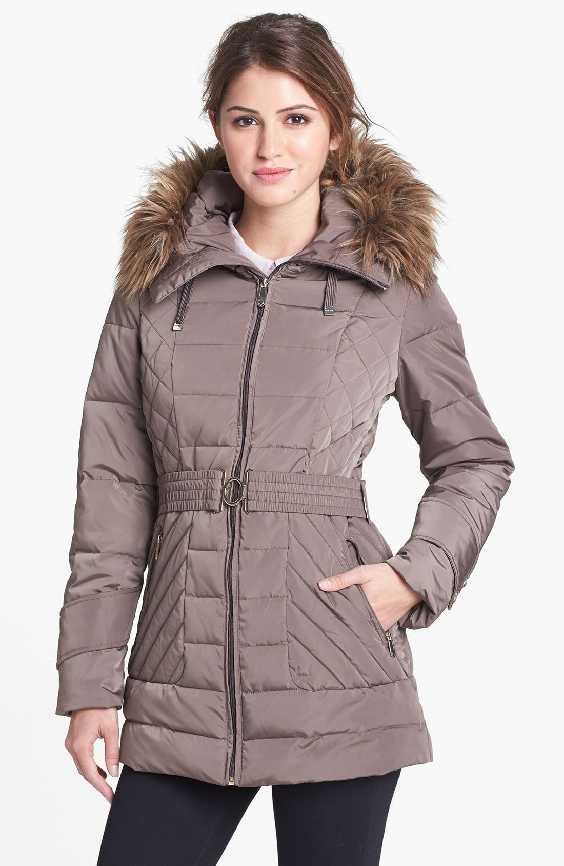 Main Image - Calvin Klein Faux Fur Trim Quilted Jacket