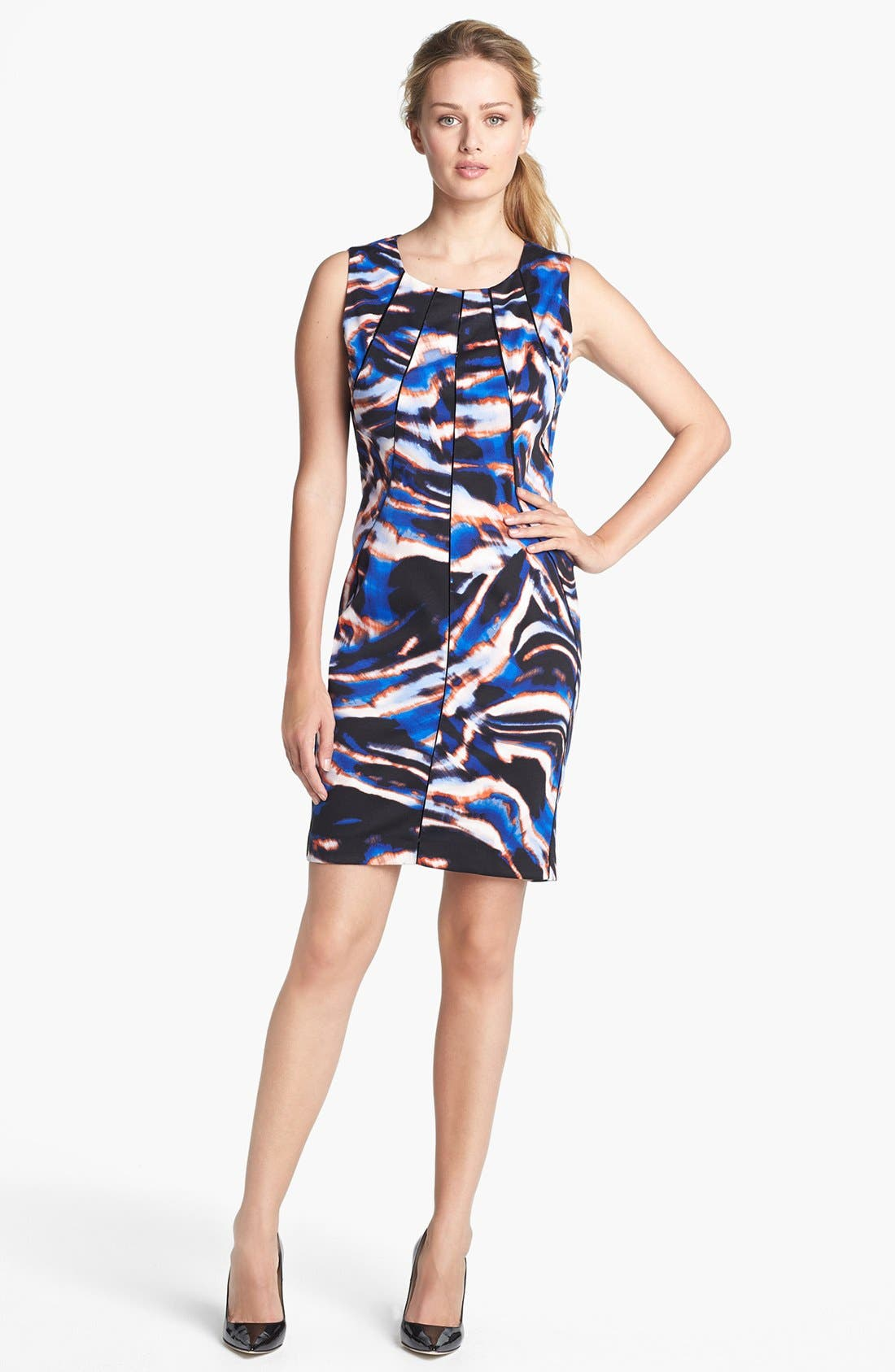 Main Image - Calvin Klein Pleated Neck Print Sheath Dress