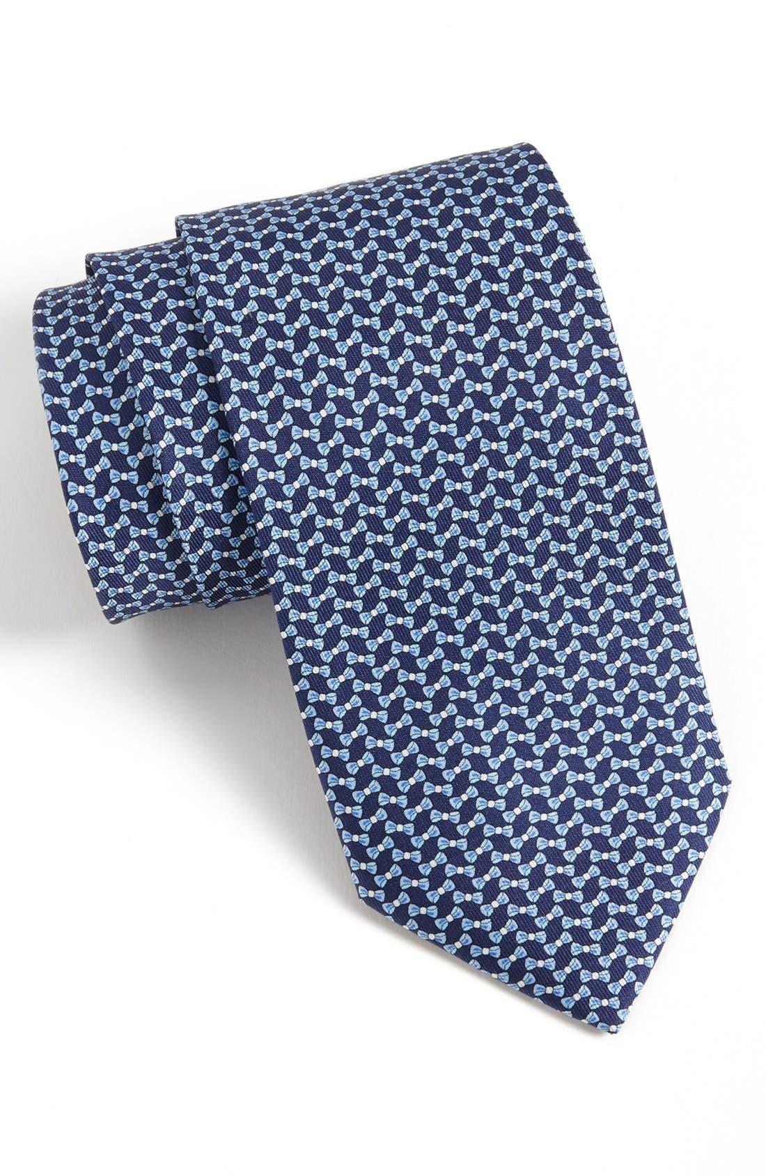 Main Image - Salvatore Ferragamo Bow Print Silk Tie