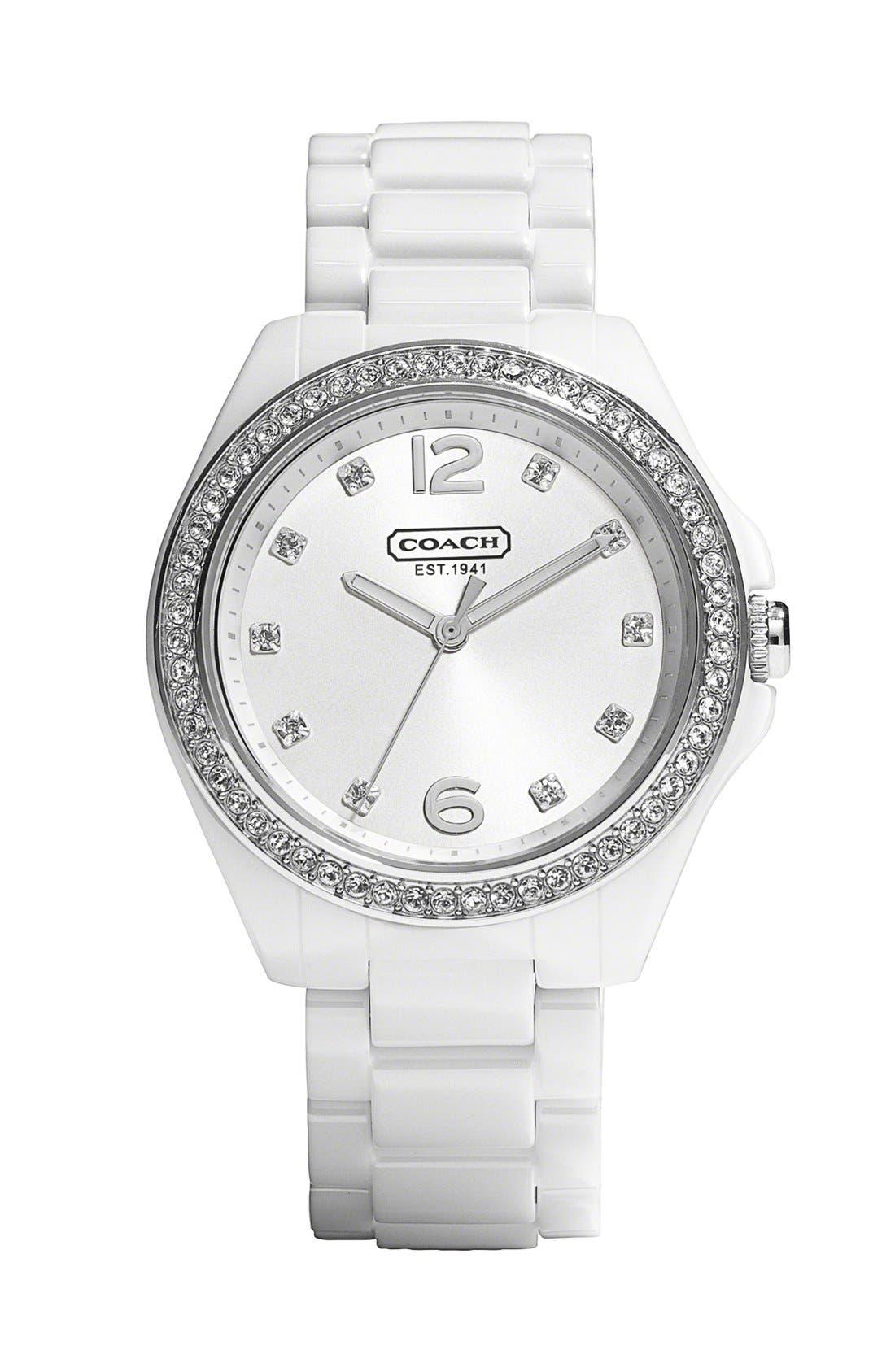 Main Image - COACH 'Tristen' Crystal Bezel Ceramic Bracelet Watch, 36mm