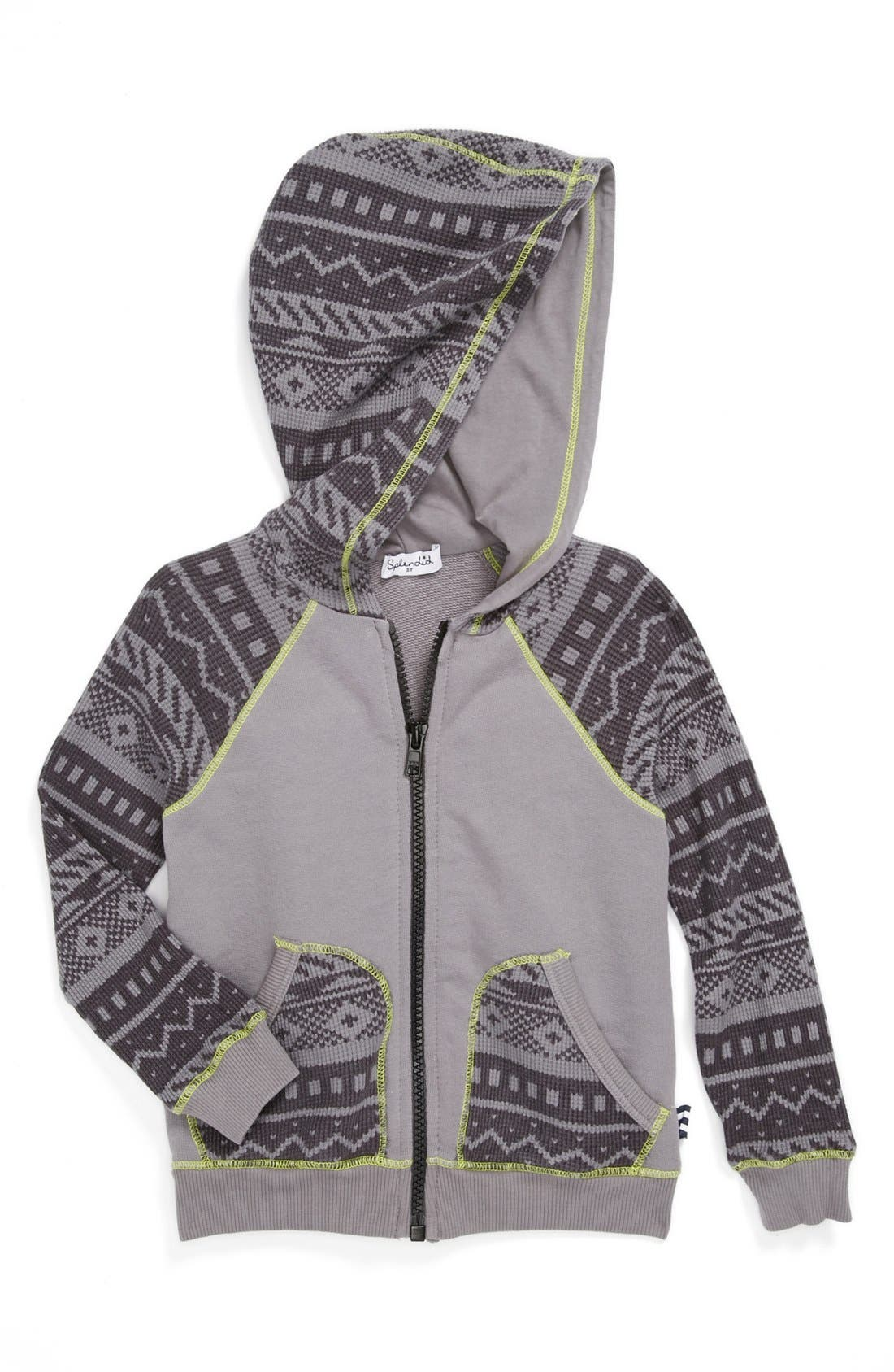 Alternate Image 1 Selected - Splendid Thermal Sleeve Hoodie (Toddlers)