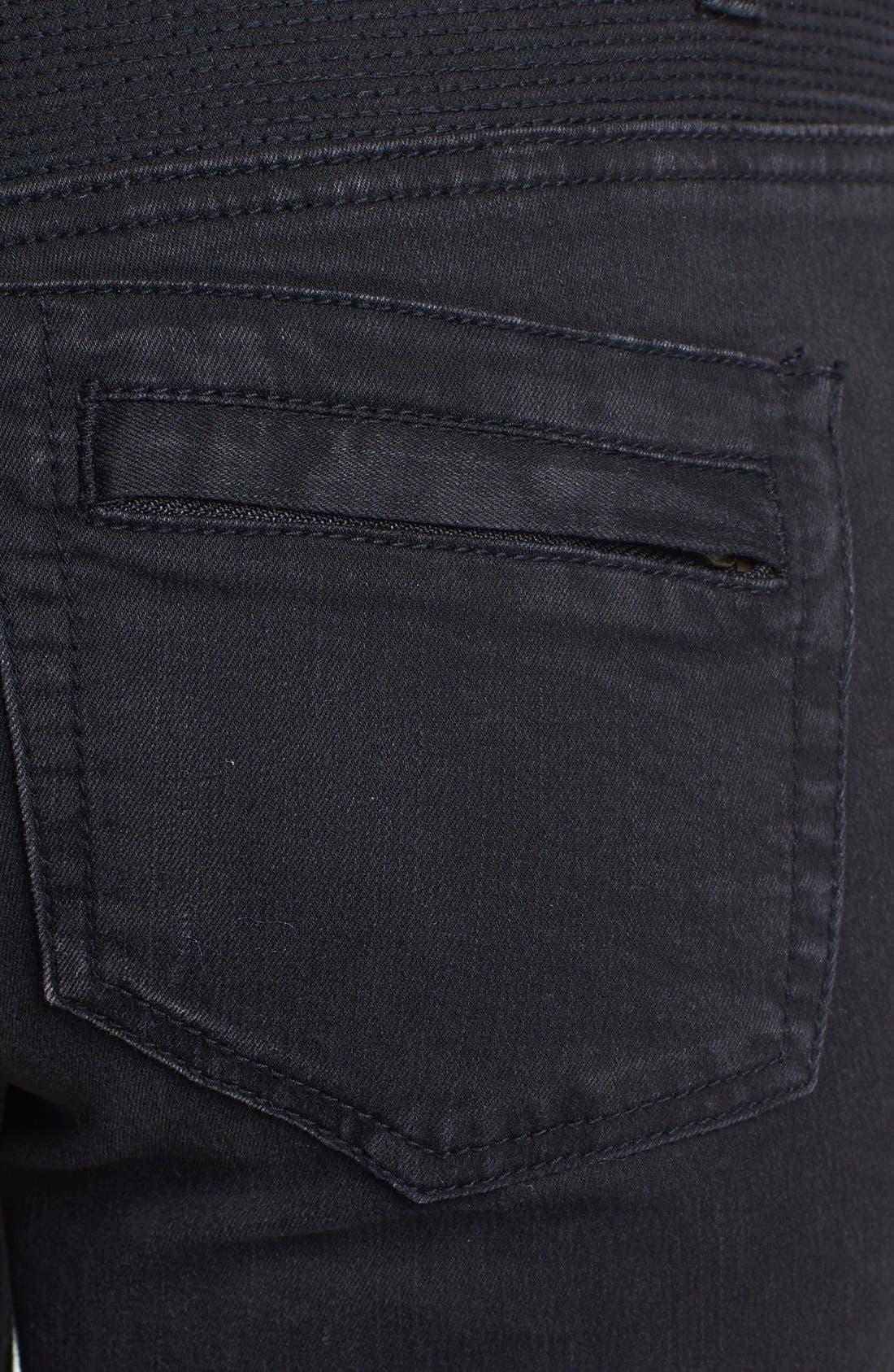Alternate Image 3  - Free People Seamed Moto Skinny Jeans (Moonlight)