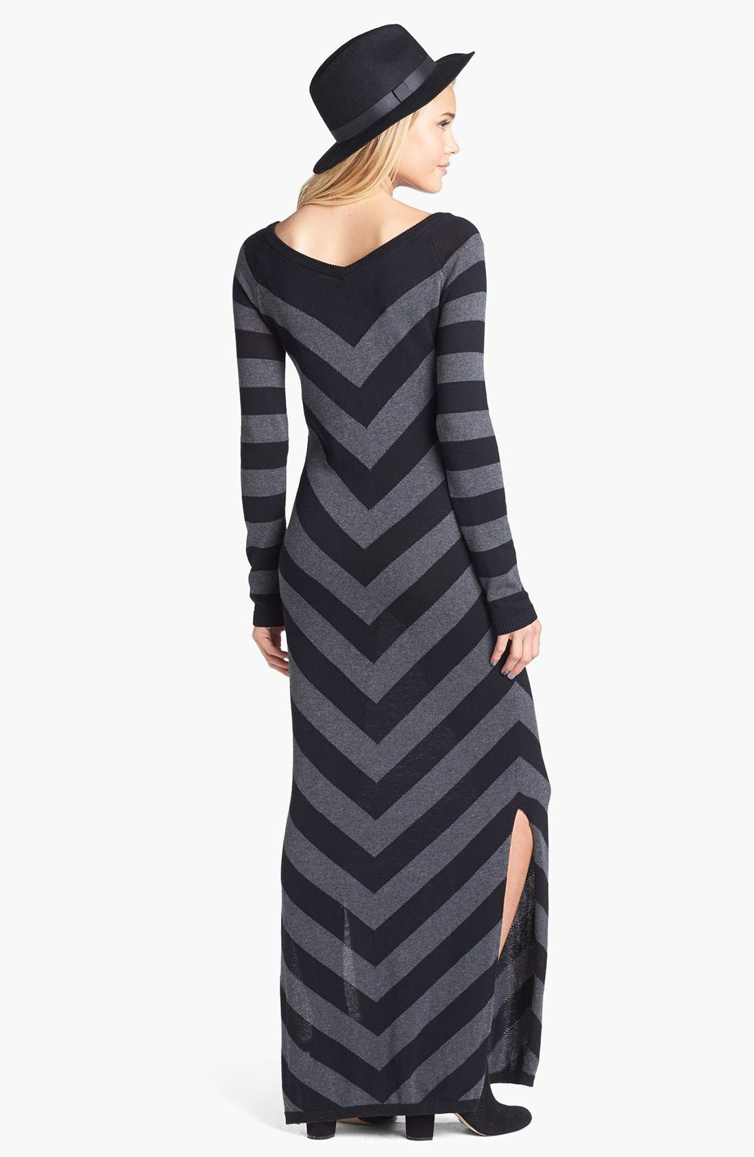 Alternate Image 2  - Rubbish® Stripe V-Neck Sweater Maxi Dress (Juniors)