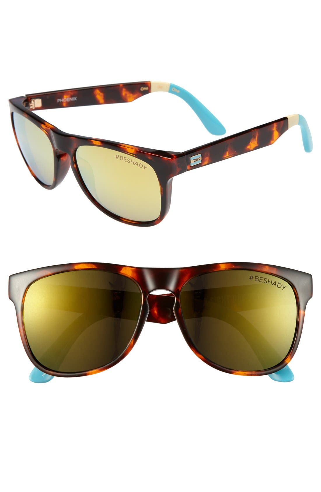 Main Image - TOMS 'Phoenix Gold Mirror - World Sight Day Limited Edition' 57mm Sunglasses