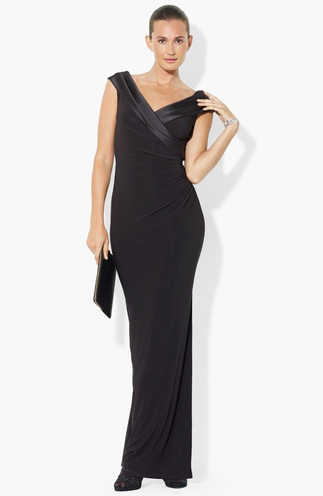Alternate Image 1 Selected - Lauren Ralph Lauren Satin Neck Matte Jersey Gown