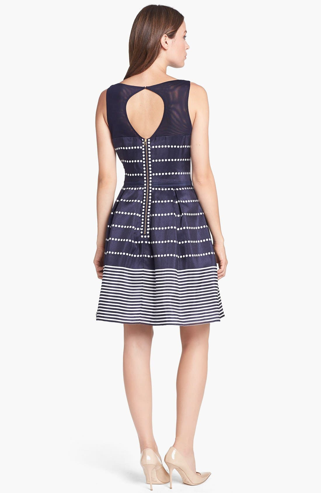 Alternate Image 2  - Taylor Dresses Polka Dot Stripe Fit & Flare Dress